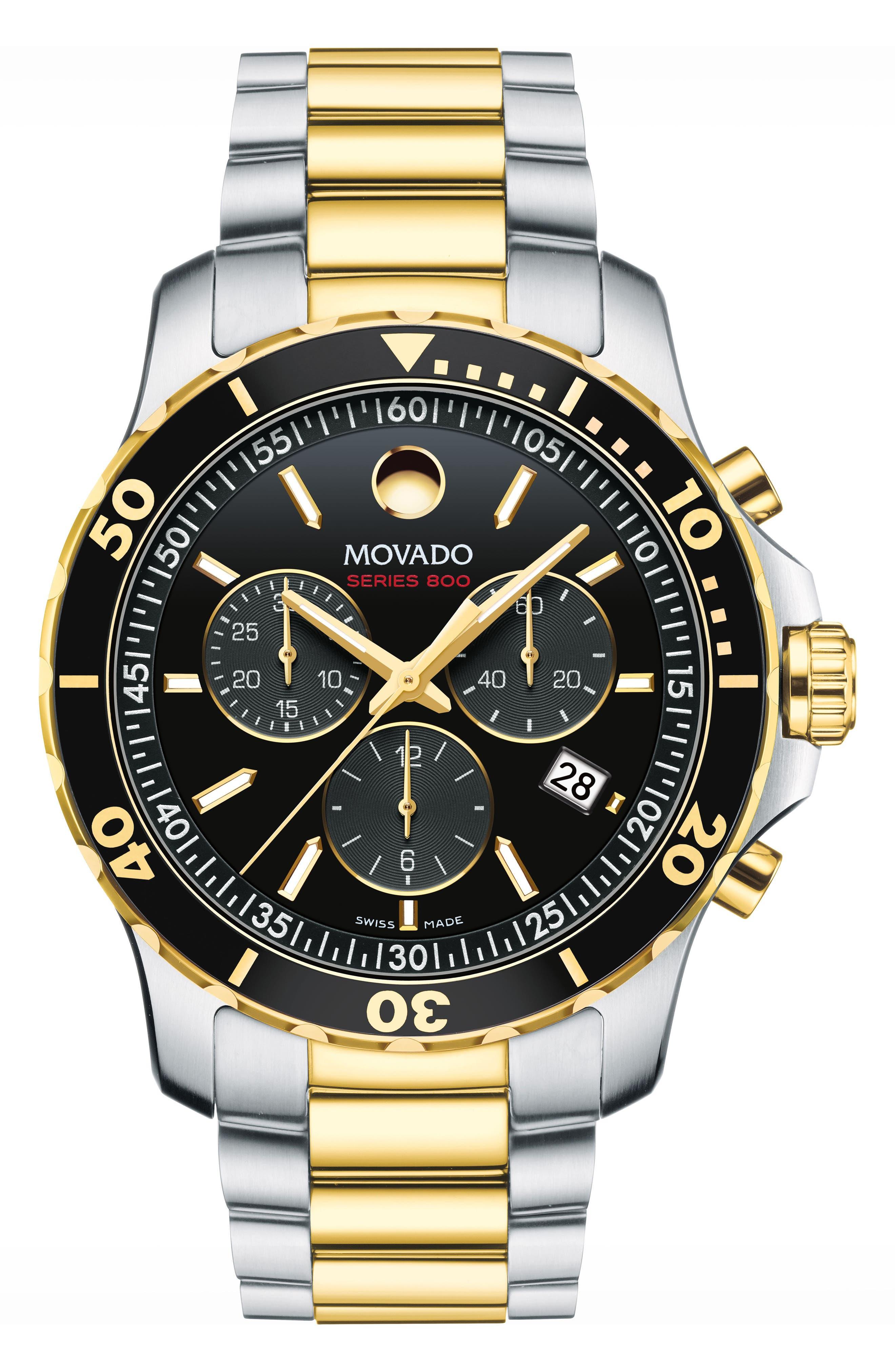 'Series 800' Chronograph Bracelet Watch, 42mm,                             Main thumbnail 1, color,                             Silver/ Black/ Gold