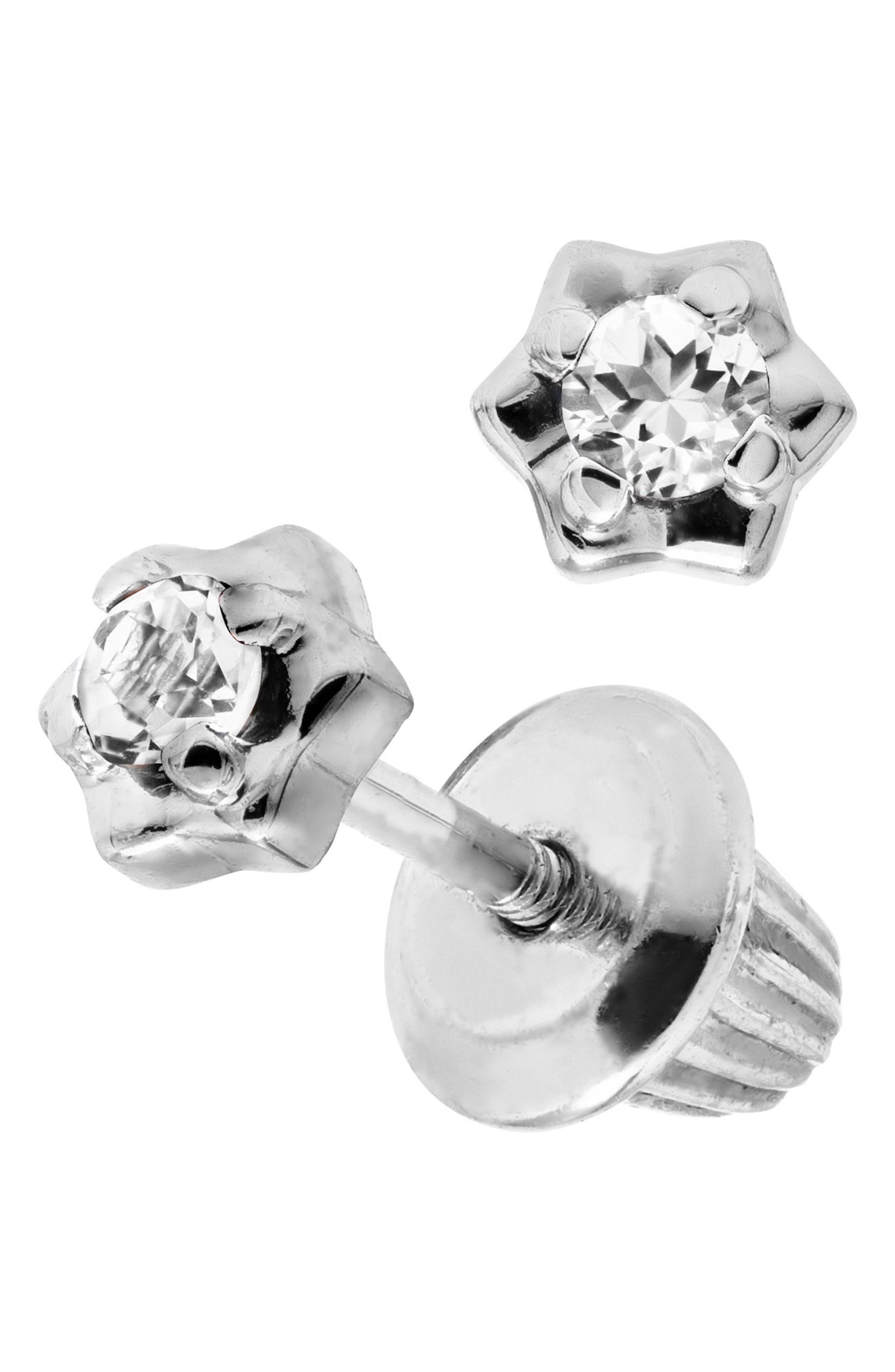 Sterling Silver & Diamond Stud Earrings,                             Main thumbnail 1, color,                             Silver