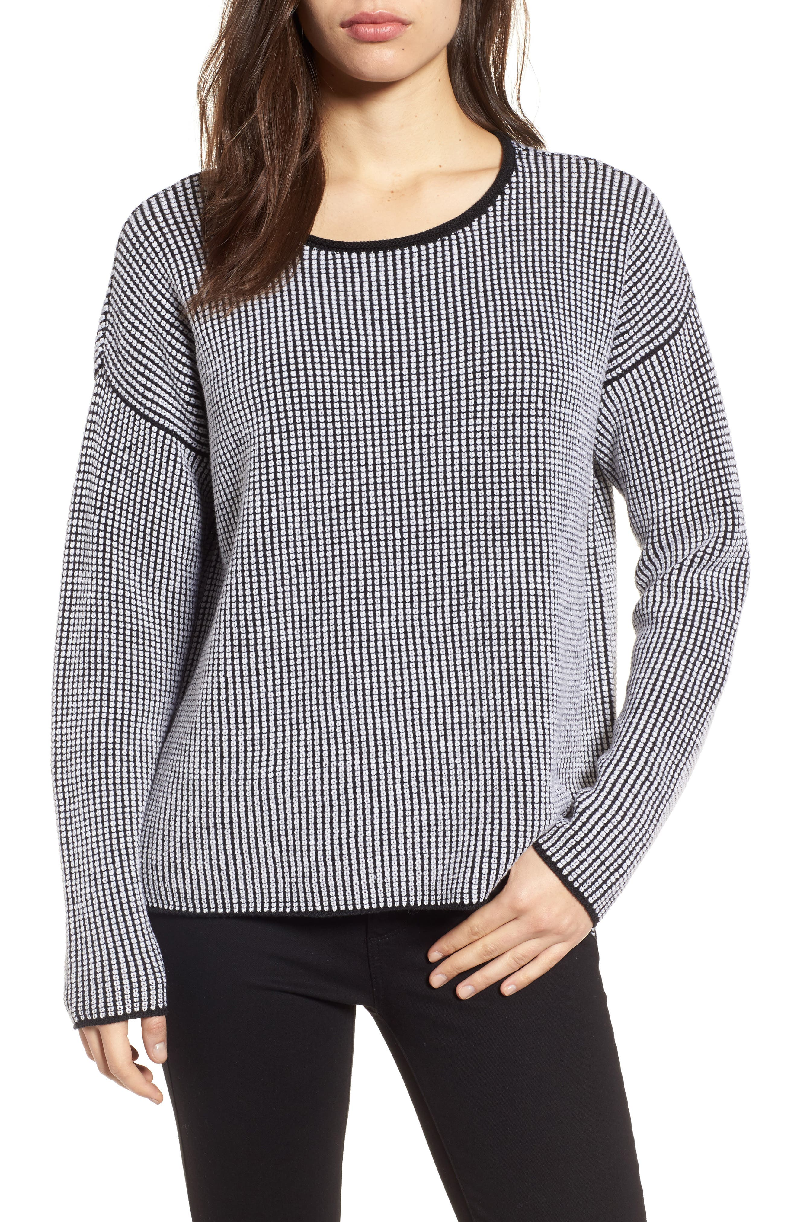 Textured Merino Wool Sweater,                         Main,                         color, Black/ Soft White