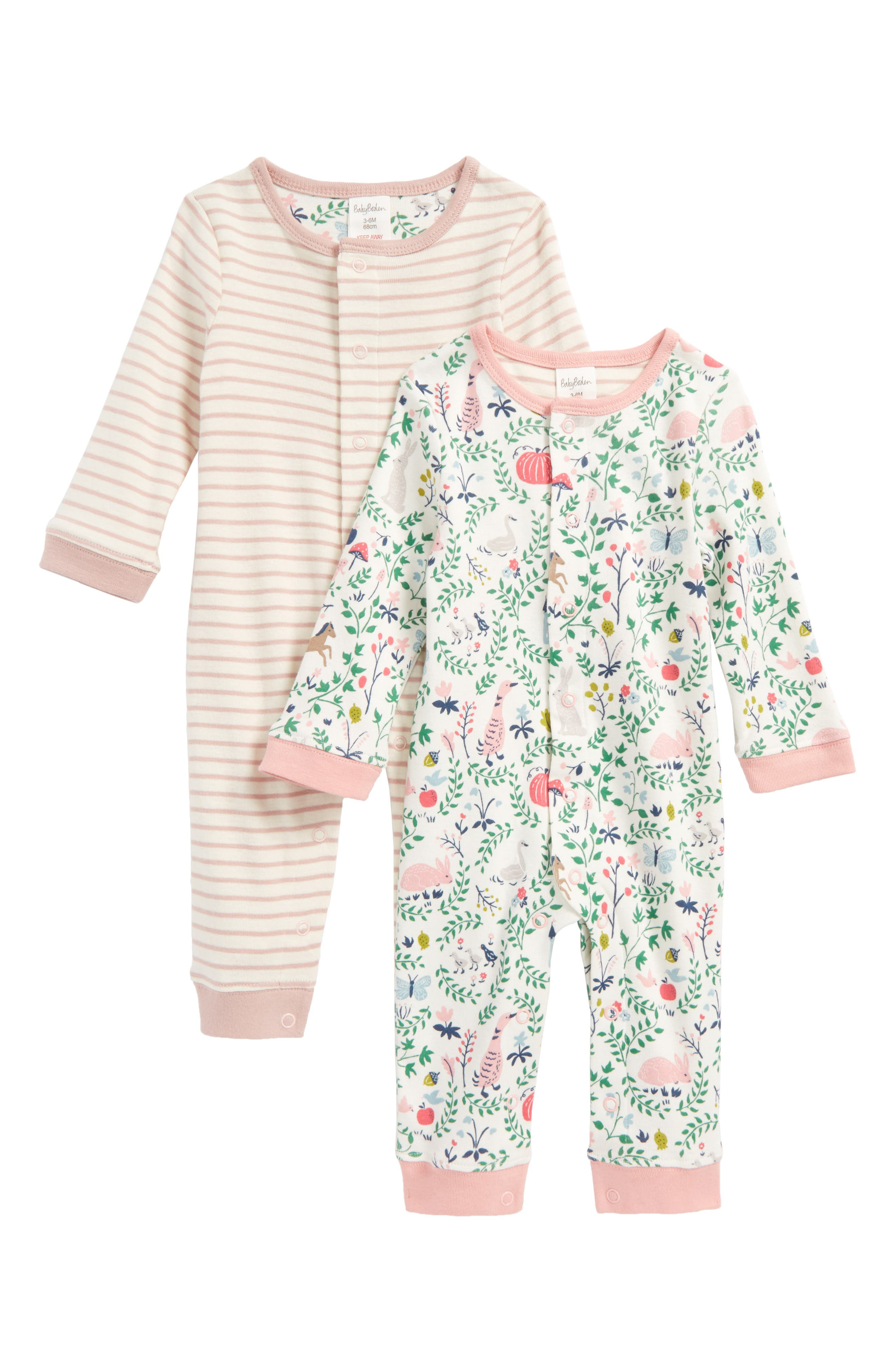 Mini Boden Set of 2 Rompers (Baby Girls)