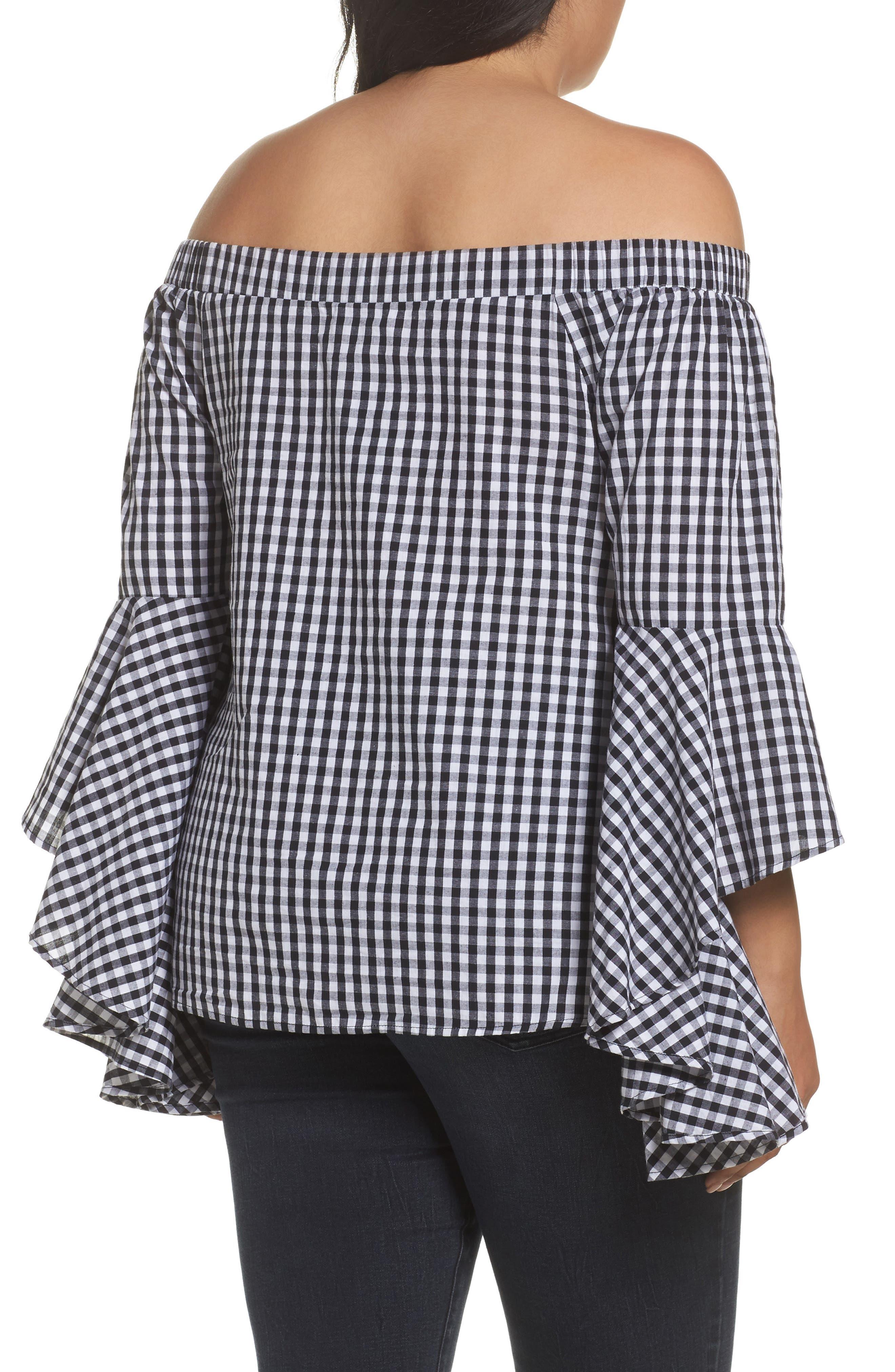 Bell Sleeve Off the Shoulder Shirt,                             Alternate thumbnail 3, color,                             Black / White