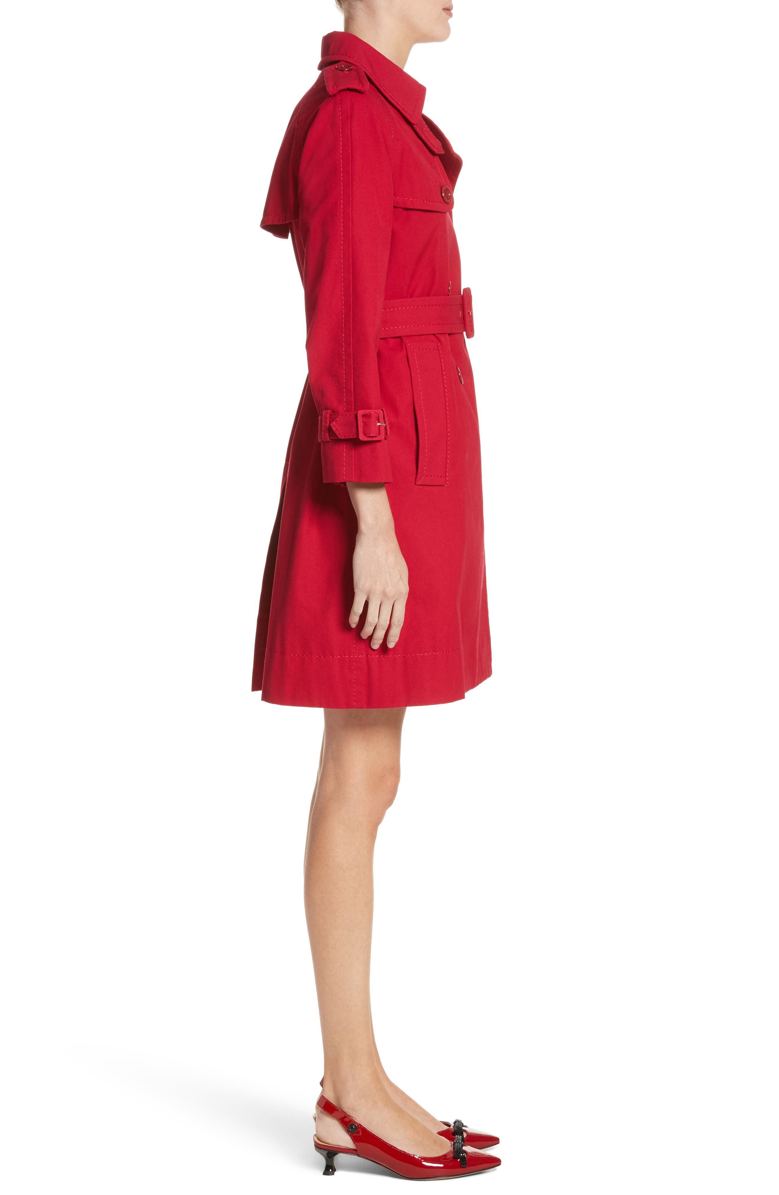 Shrunken Trench Coat,                             Alternate thumbnail 3, color,                             Red