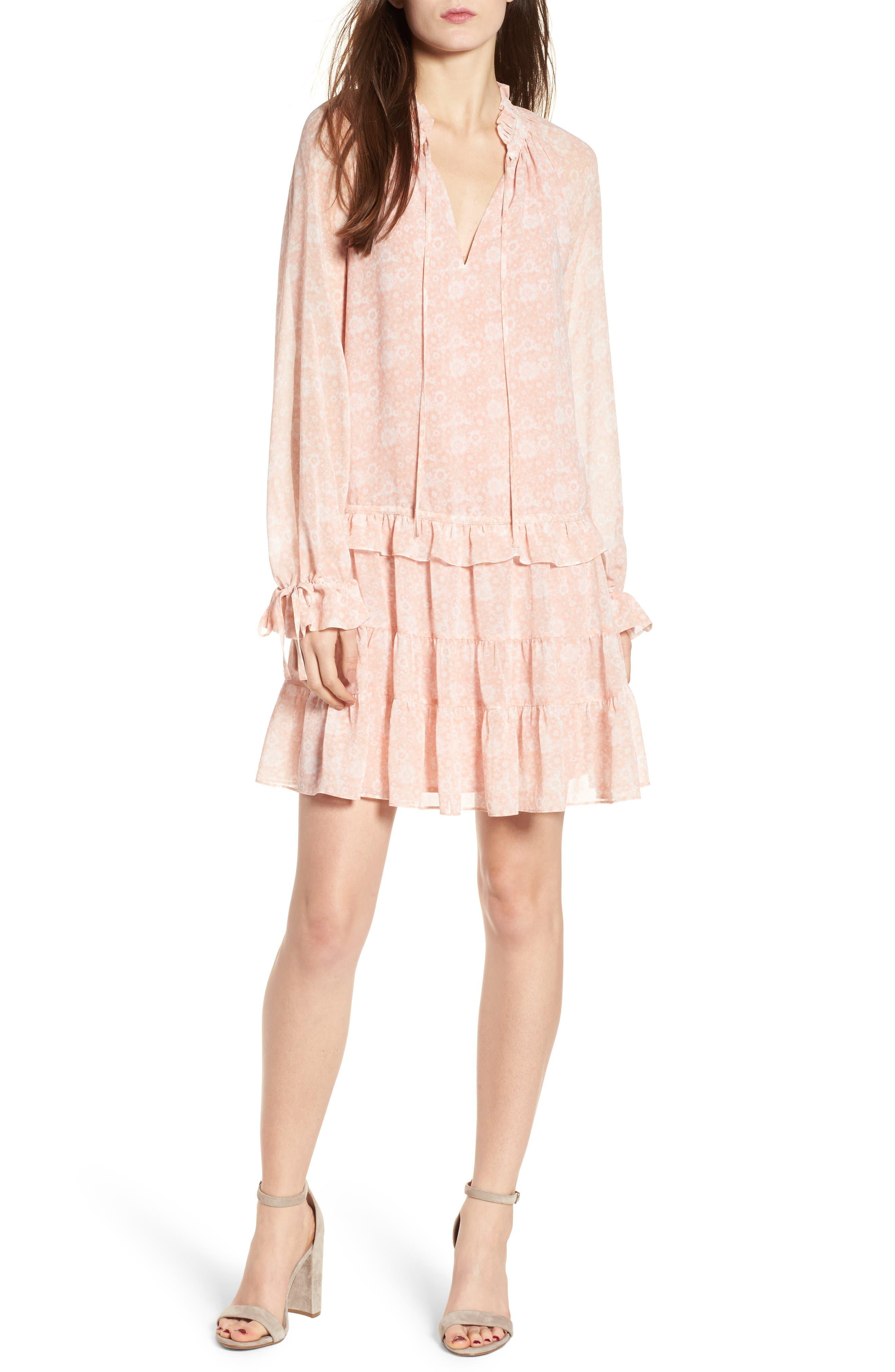 Dylan Drop Waist Dress,                             Main thumbnail 1, color,                             Light Pink Multi