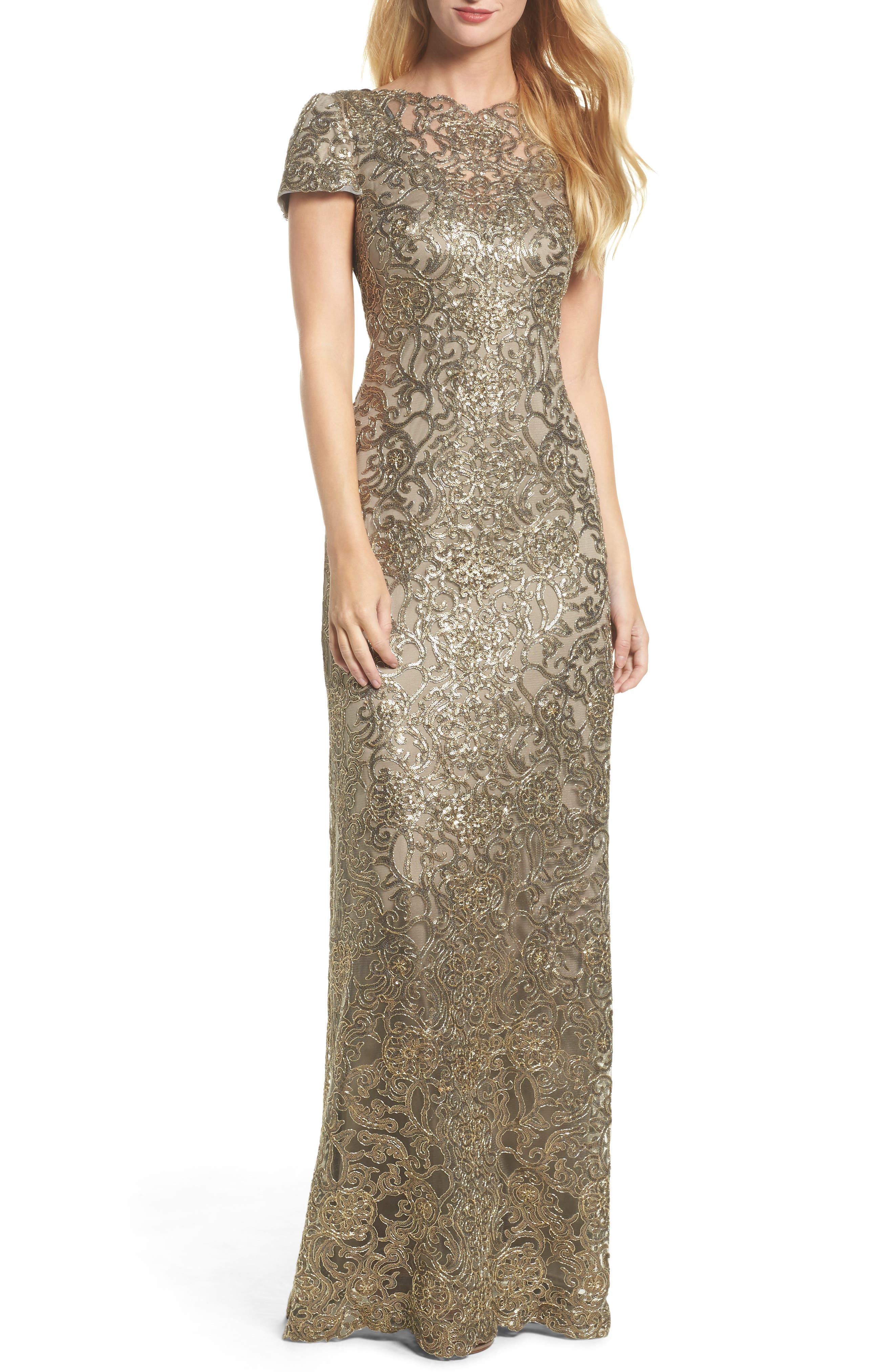 Corded Lace Gown,                             Main thumbnail 1, color,                             Smoke Pearl