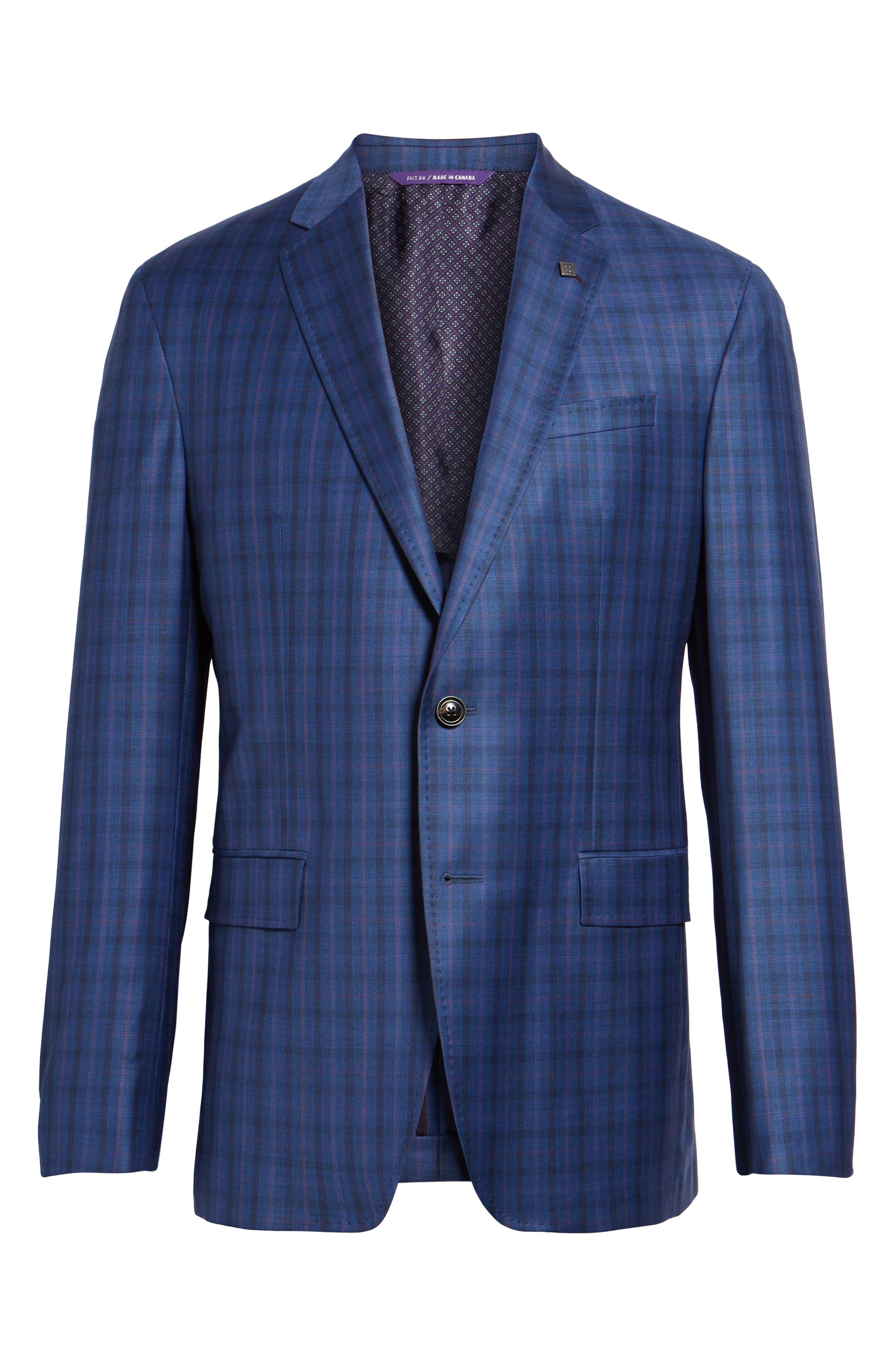 Konan Trim Fit Plaid Wool Sport Coat,                             Alternate thumbnail 6, color,                             Blue W/Light Berry Windowpane