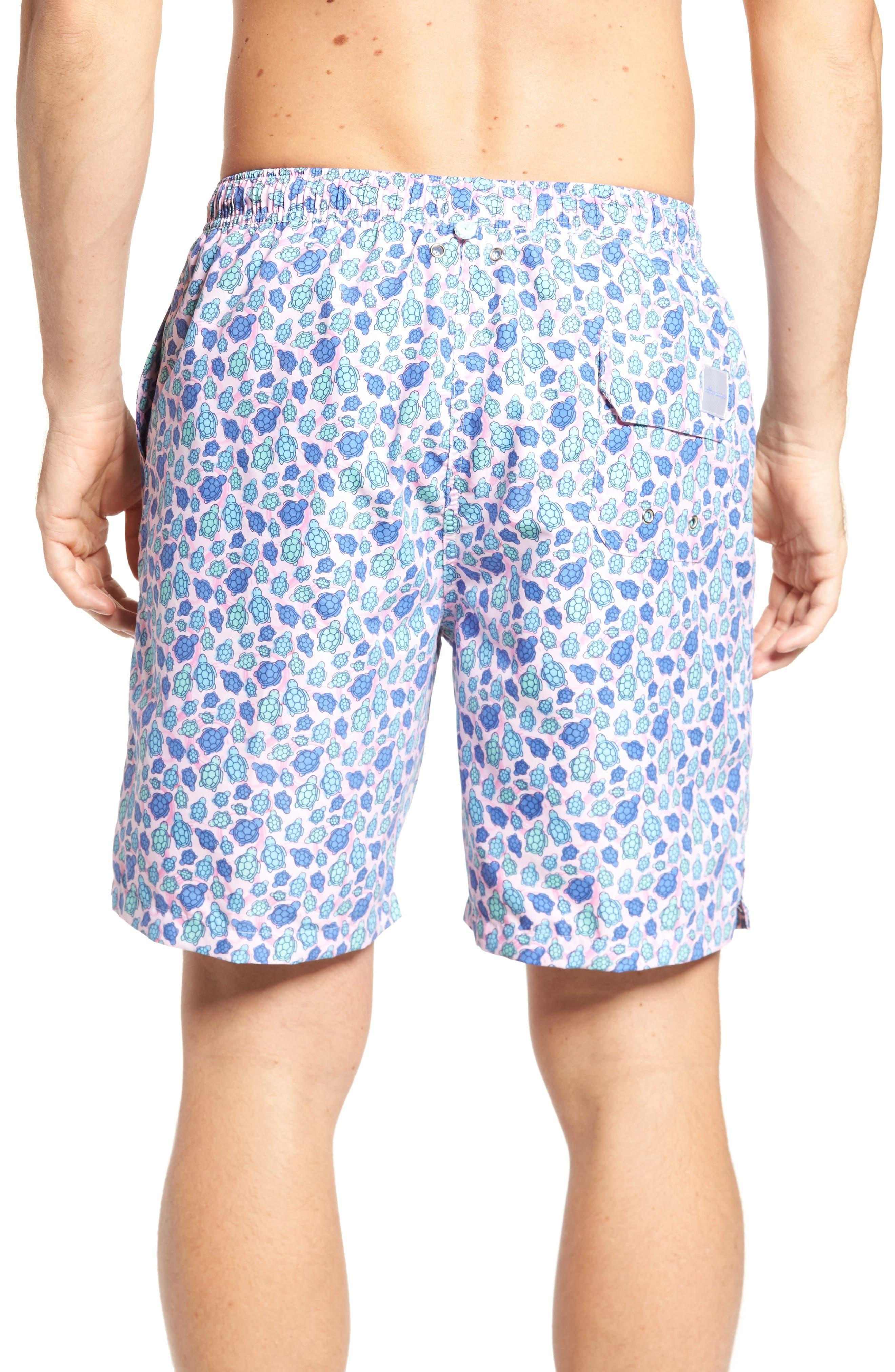 Shelly Turtle Print Swim Shorts,                             Alternate thumbnail 2, color,                             Dusk Pink