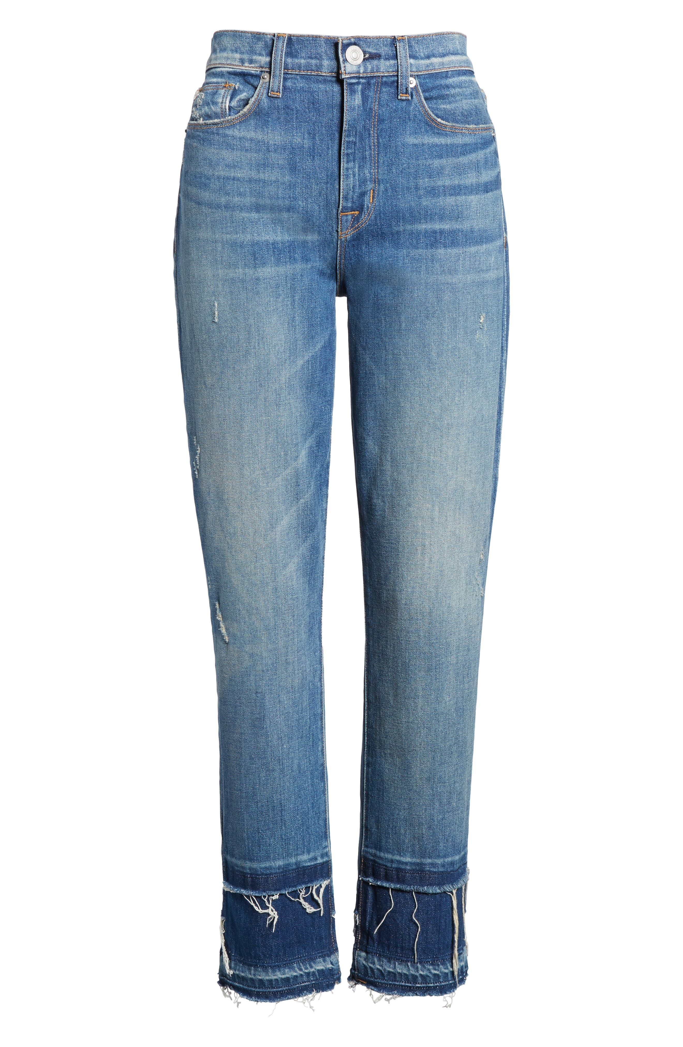 Zoeey High Waist Crop Straight Leg Jeans,                             Alternate thumbnail 7, color,                             Social Grace