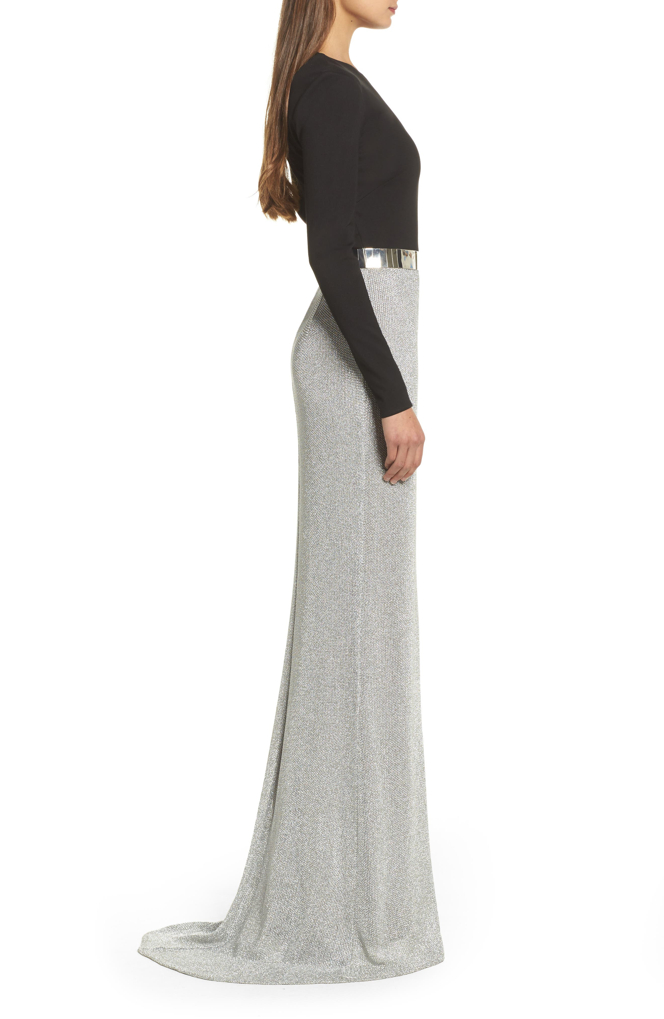 Embellished Metallic Mixed Media Gown,                             Alternate thumbnail 3, color,                             Silver