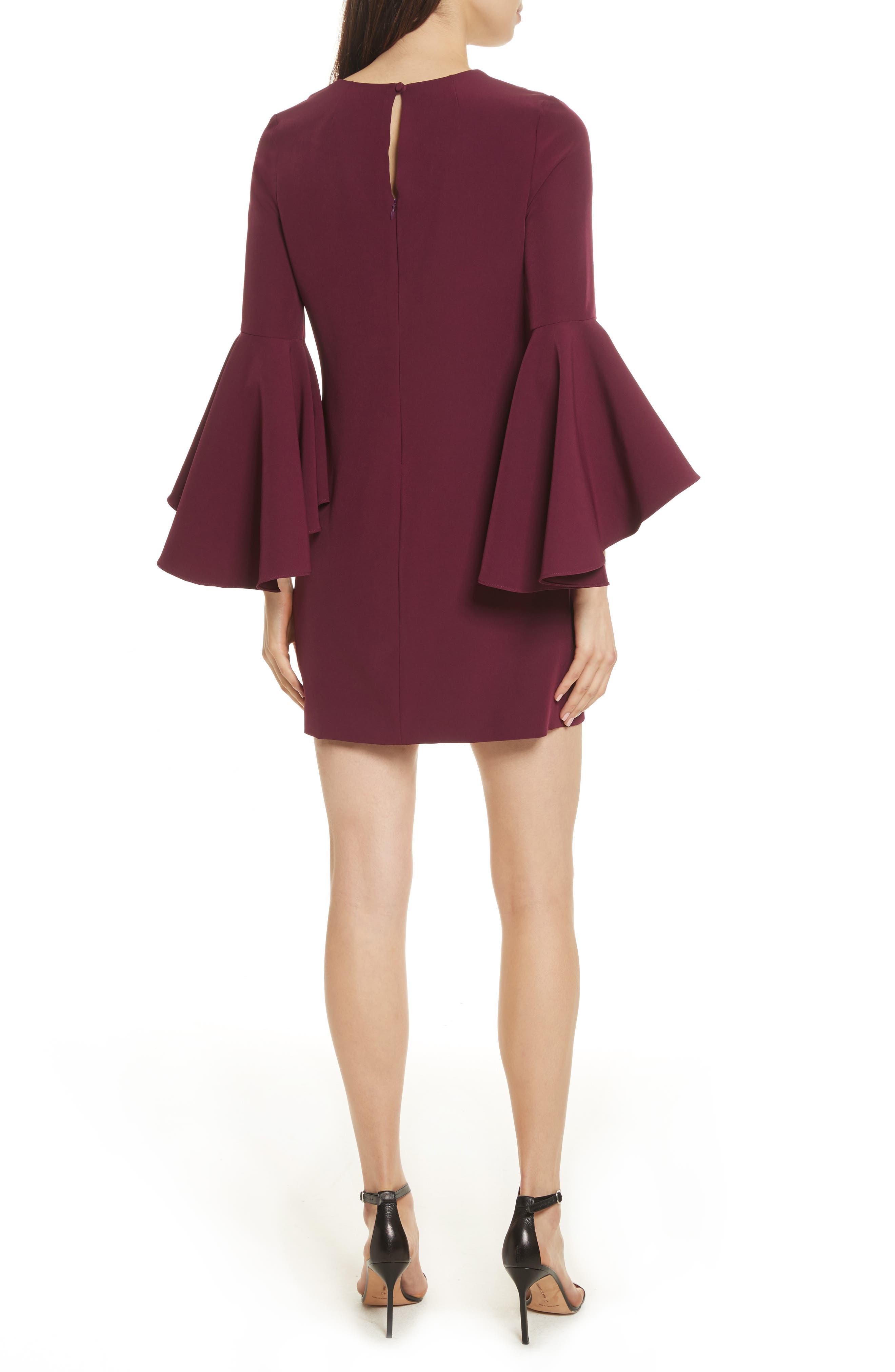 Nicole Bell Sleeve Dress,                             Alternate thumbnail 2, color,                             Burgundy