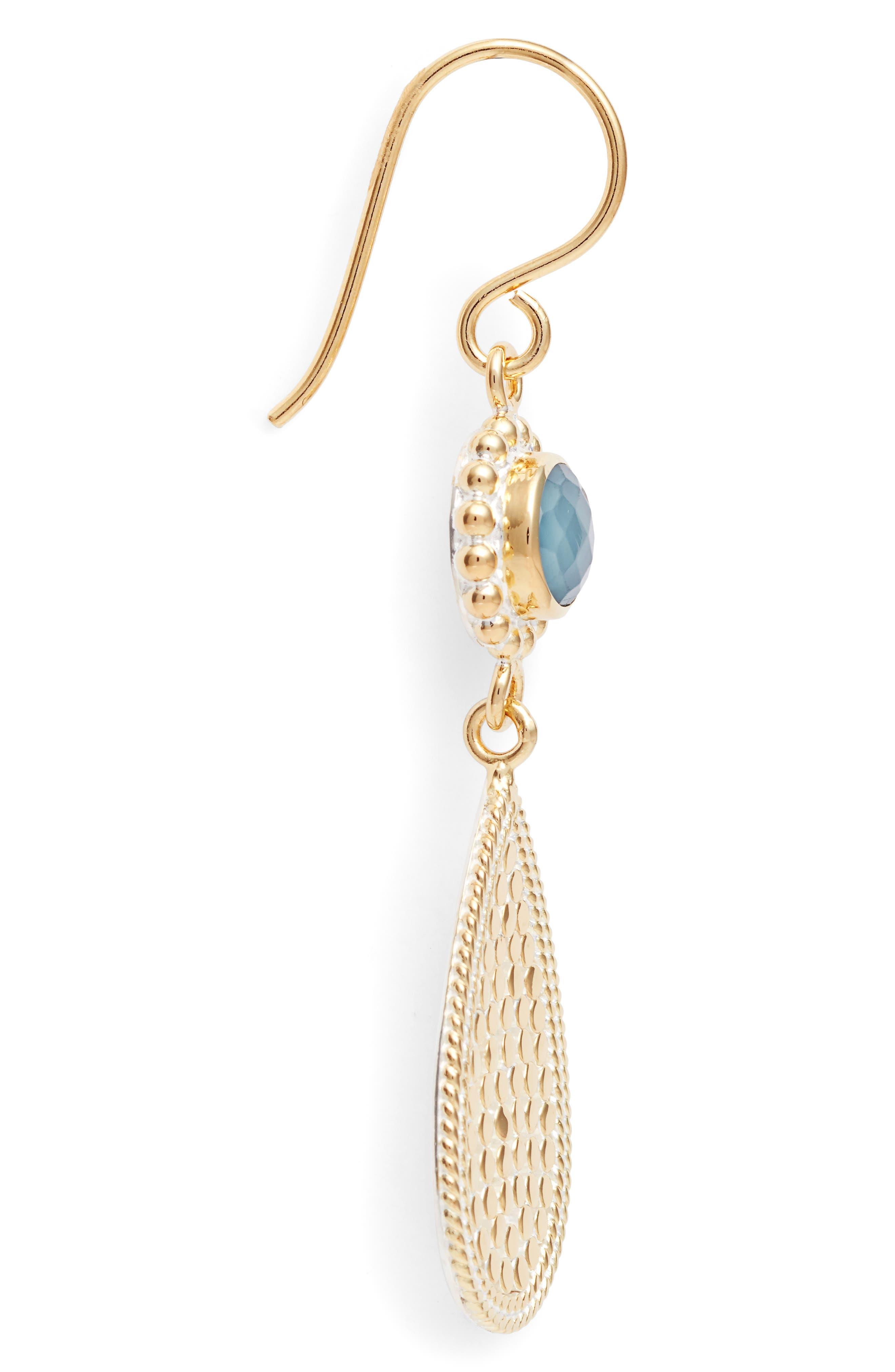Blue Quartz Double Drop Earrings,                             Alternate thumbnail 4, color,                             Gold/ Blue Quartz