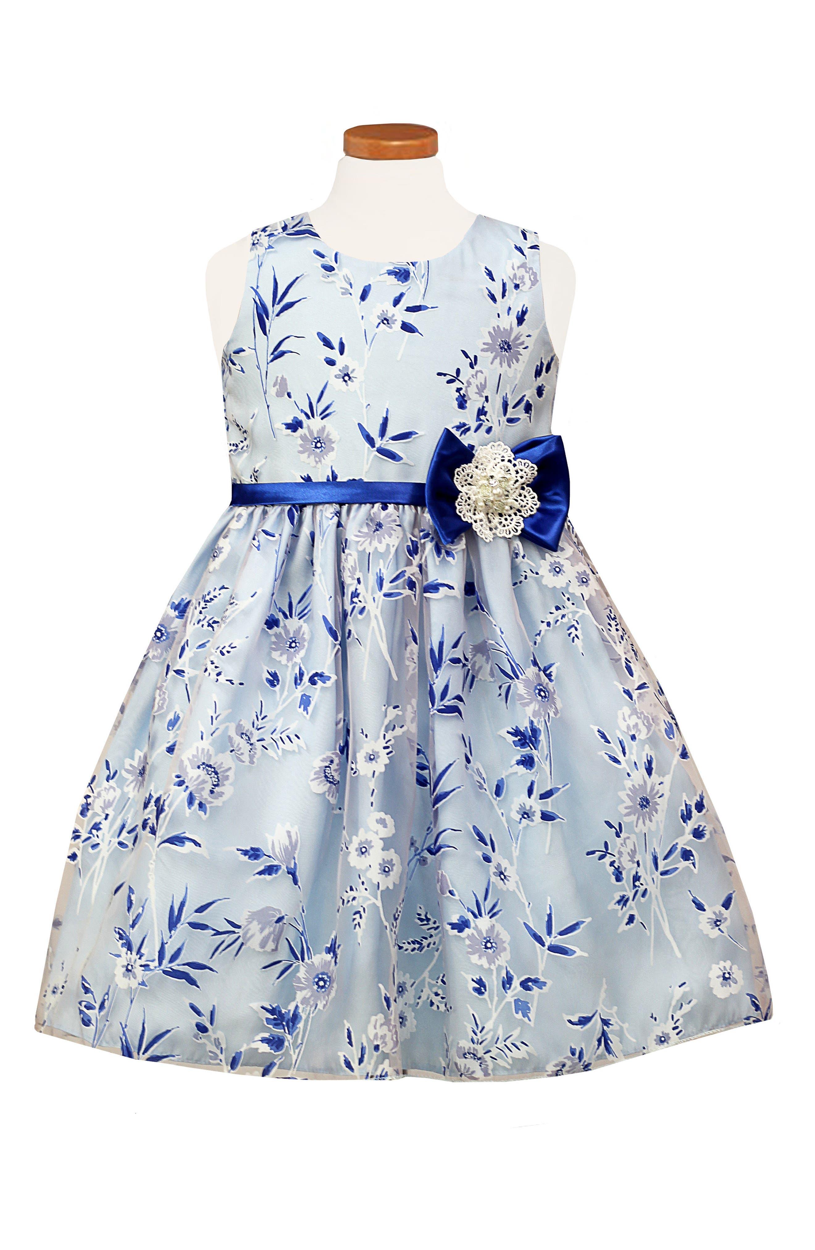 Floral Sleeveless Dress,                             Main thumbnail 1, color,                             Blue