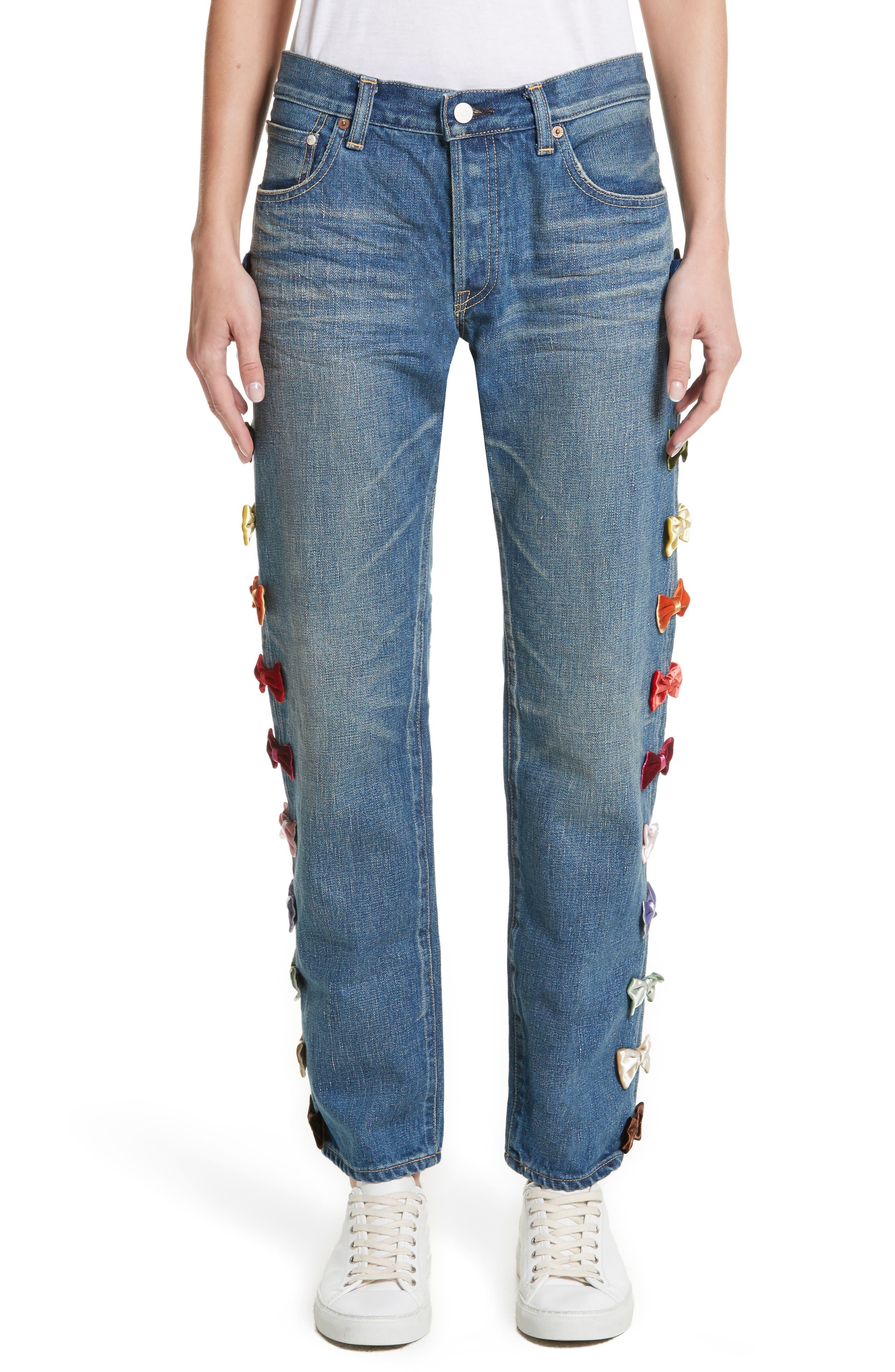 Tu es mon TRESOR Velvet Side Bow Jeans,                         Main,                         color, Multi Mult
