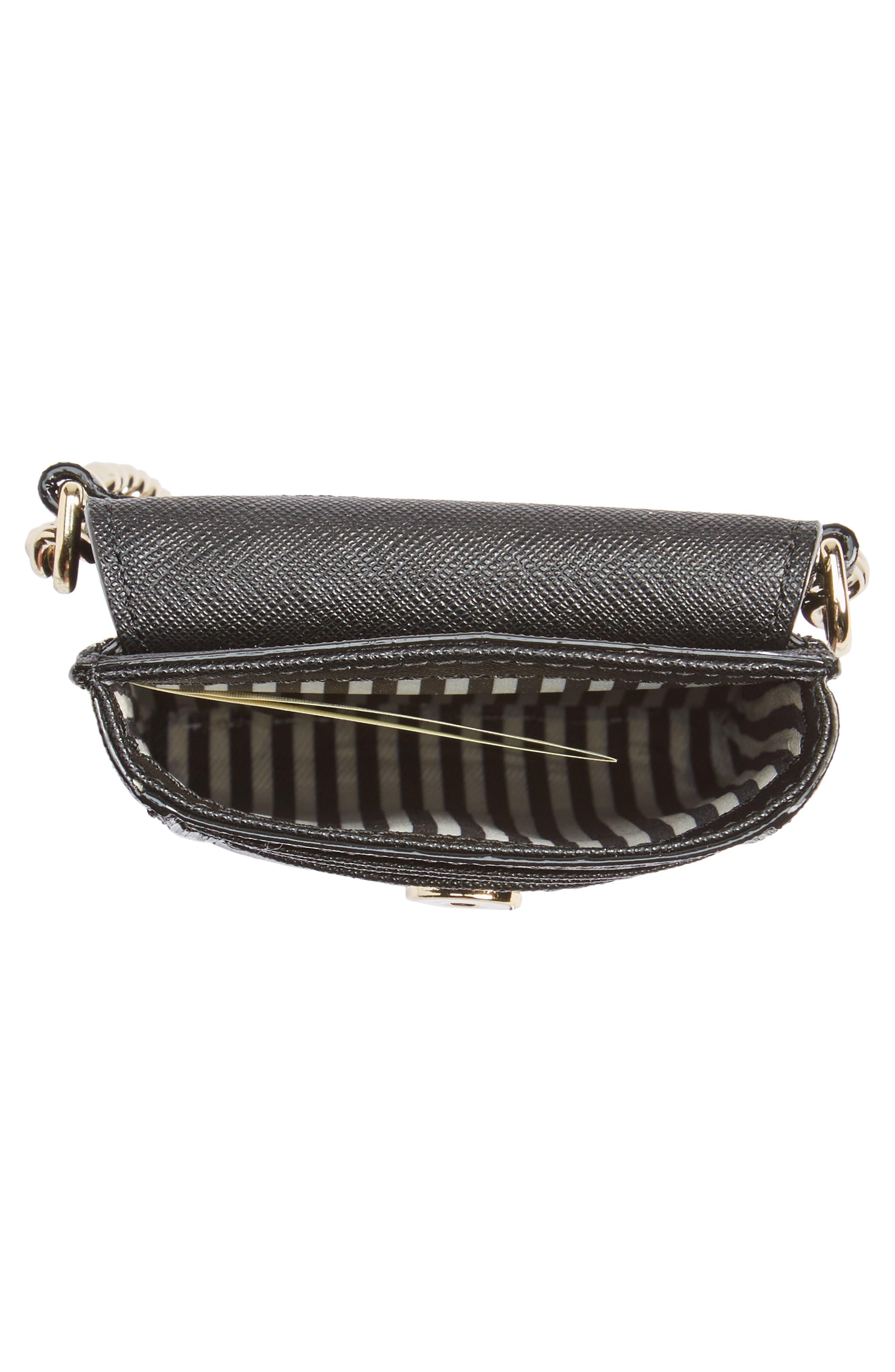 cat smartphone crossbody bag,                             Alternate thumbnail 4, color,                             Black