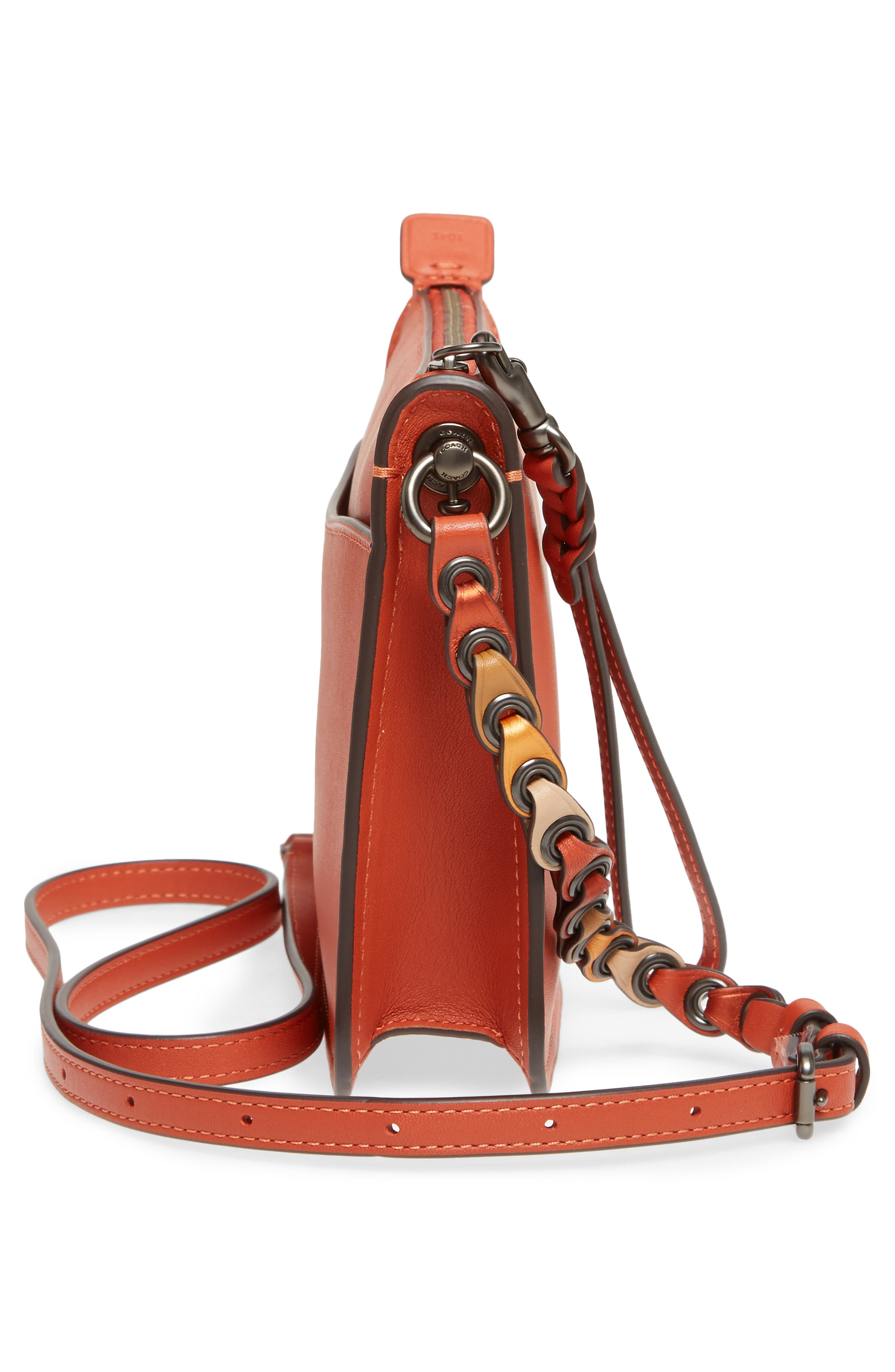 Soho Leather Crossbody Bag,                             Alternate thumbnail 5, color,                             Vermillion
