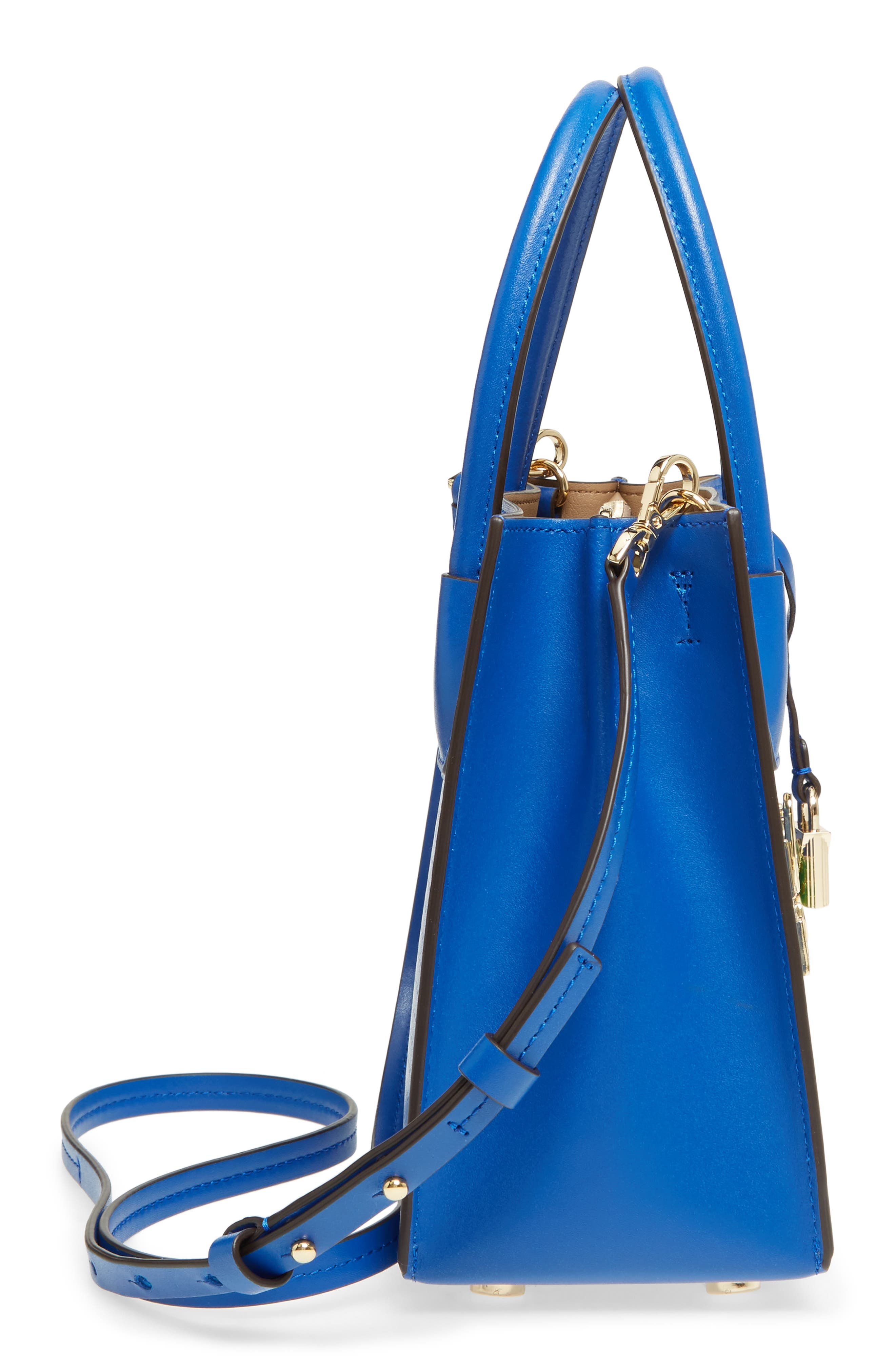 MICHAEL Michael Kors Medium Mercer Leather Crossbody Bag,                             Alternate thumbnail 5, color,                             Electric Blue