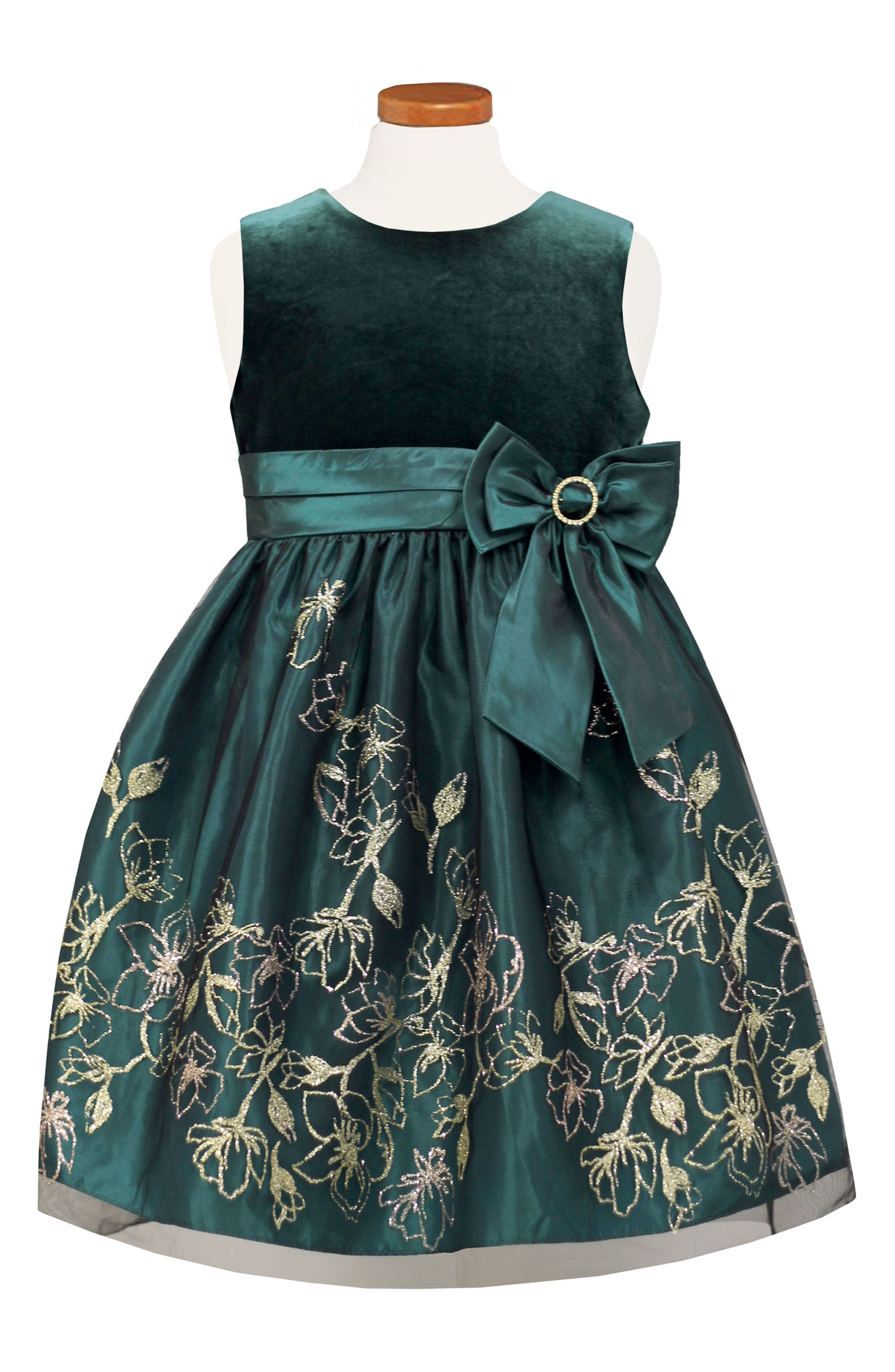 Velvet Bodice Fit & Flare Dress,                             Main thumbnail 1, color,                             Green