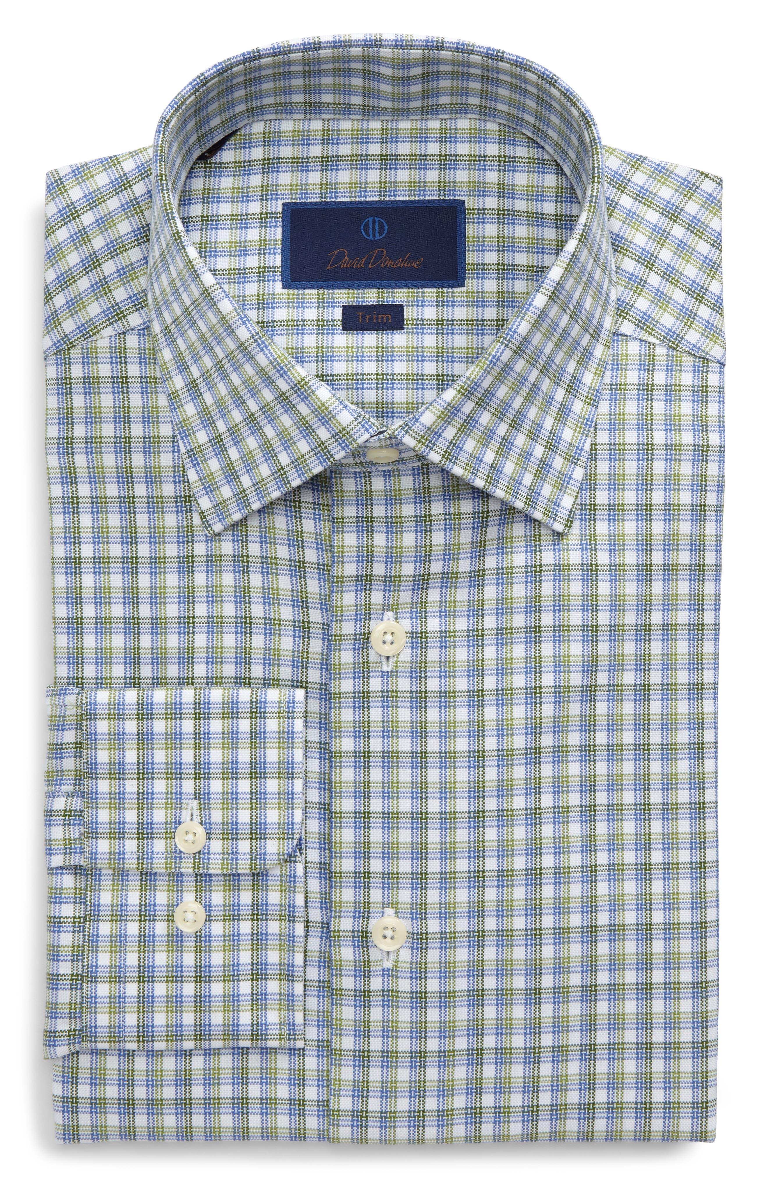 Trim Fit Check Dress Shirt,                         Main,                         color, Grass
