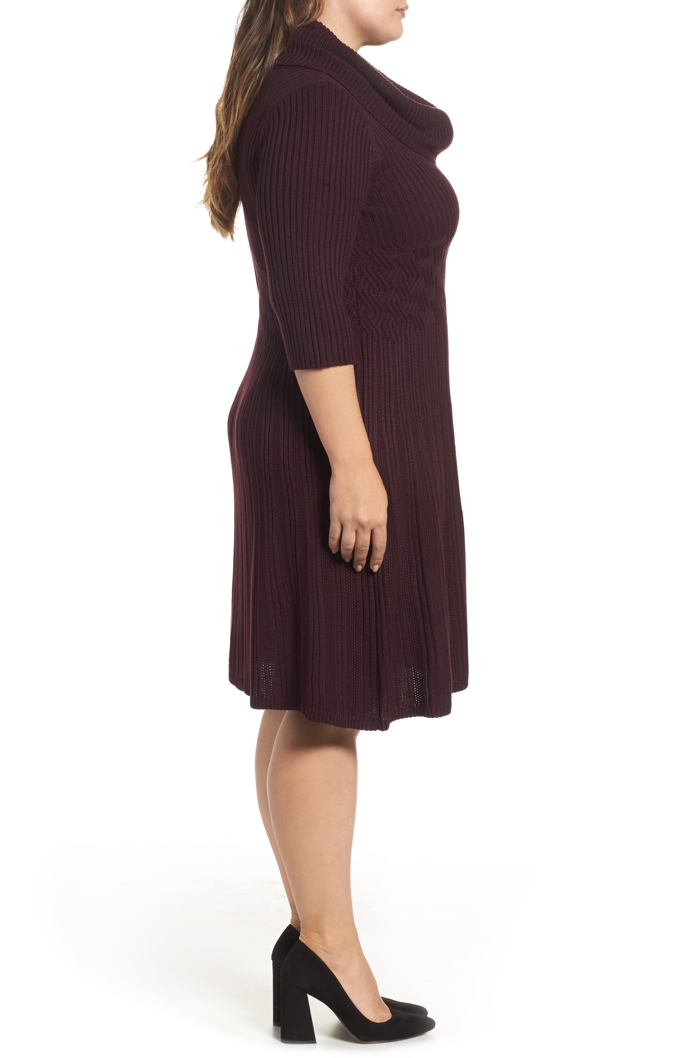 Ribbed Waist Fit & Flare Dress,                             Alternate thumbnail 3, color,                             Wine