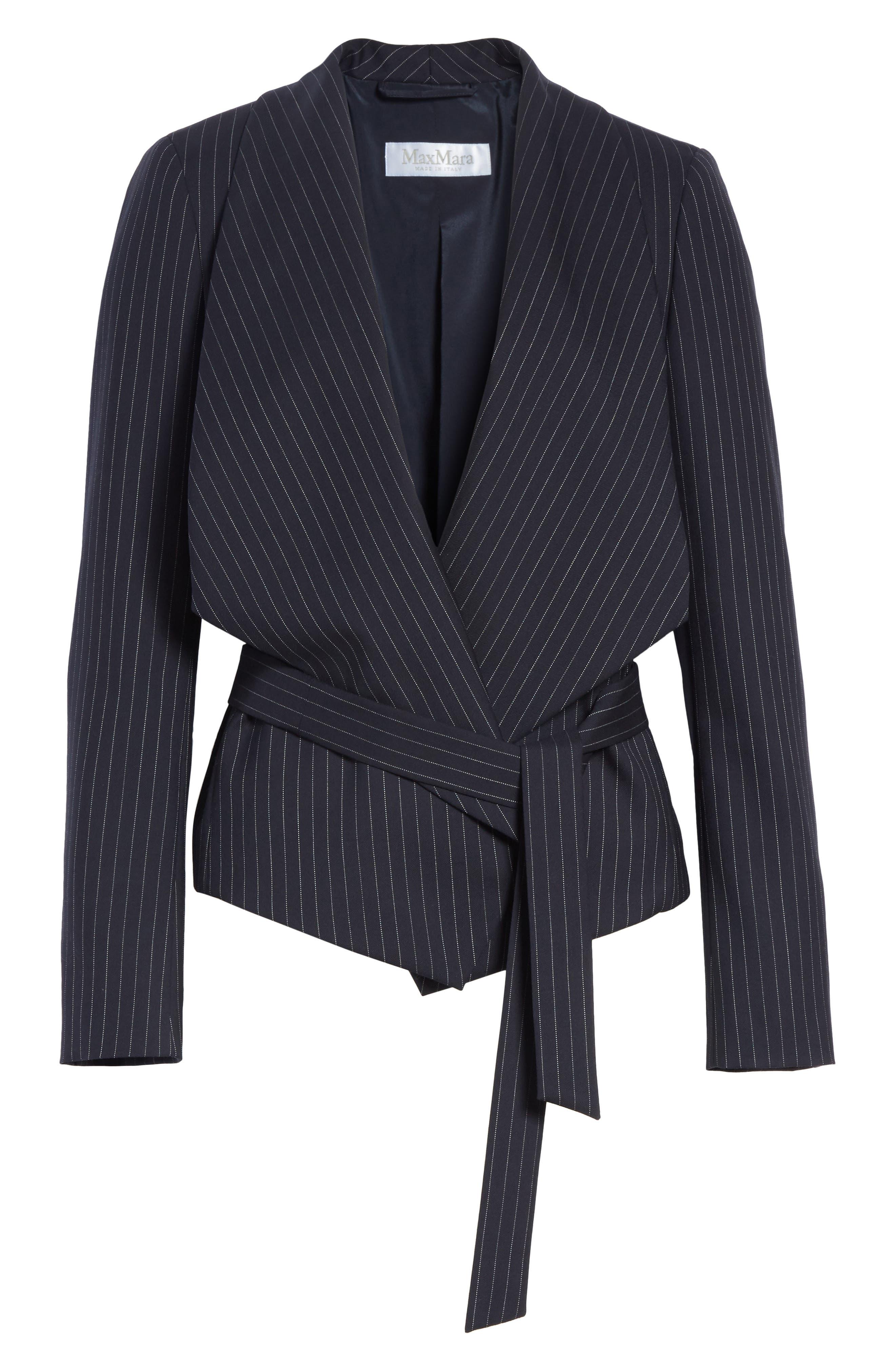 Giunto Stretch Wool Belted Blazer,                             Alternate thumbnail 6, color,                             Ultramarine