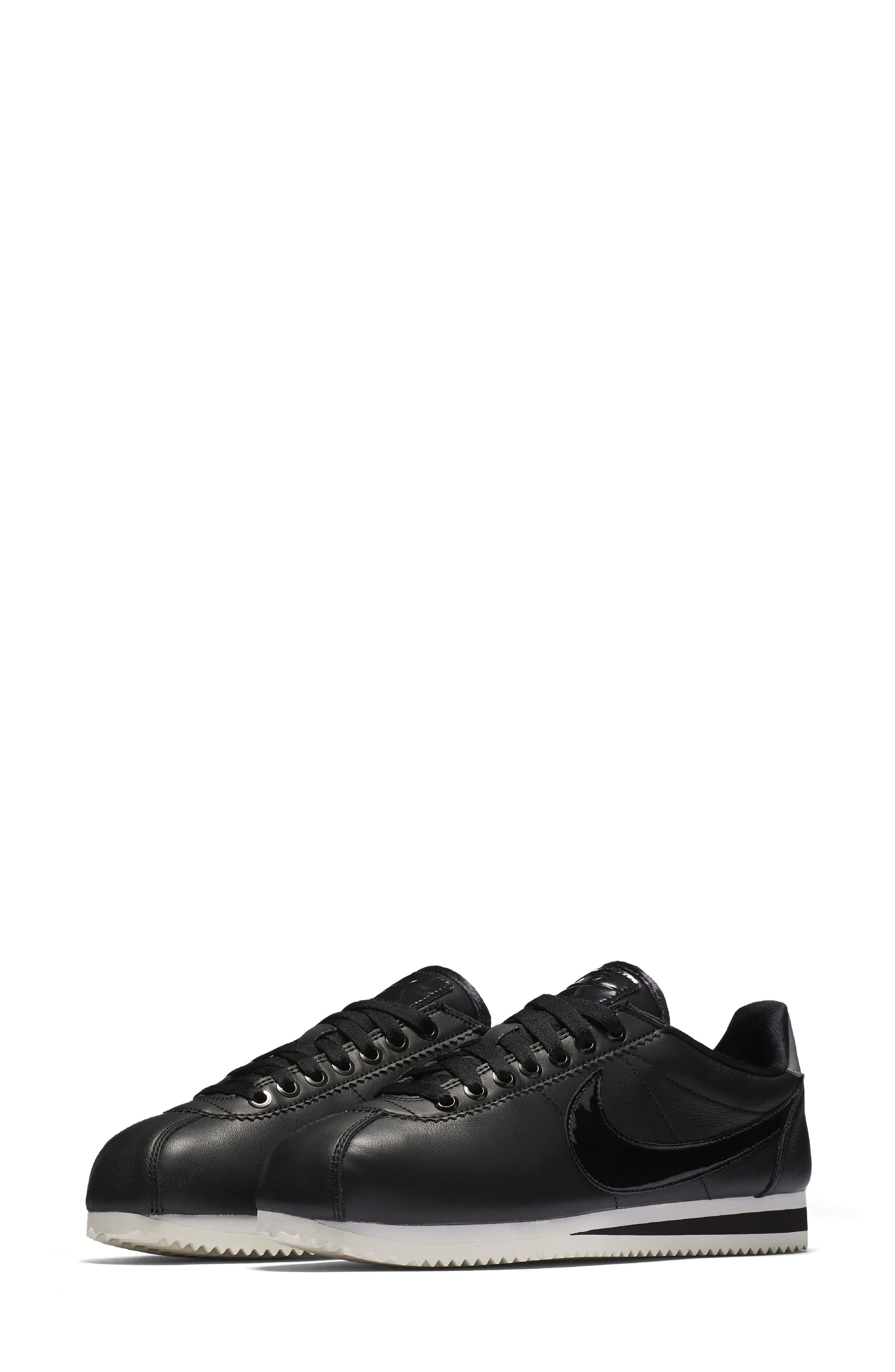Classic Cortez SE Premium Sneaker,                             Main thumbnail 1, color,                             Black/ Black Reflect Silver