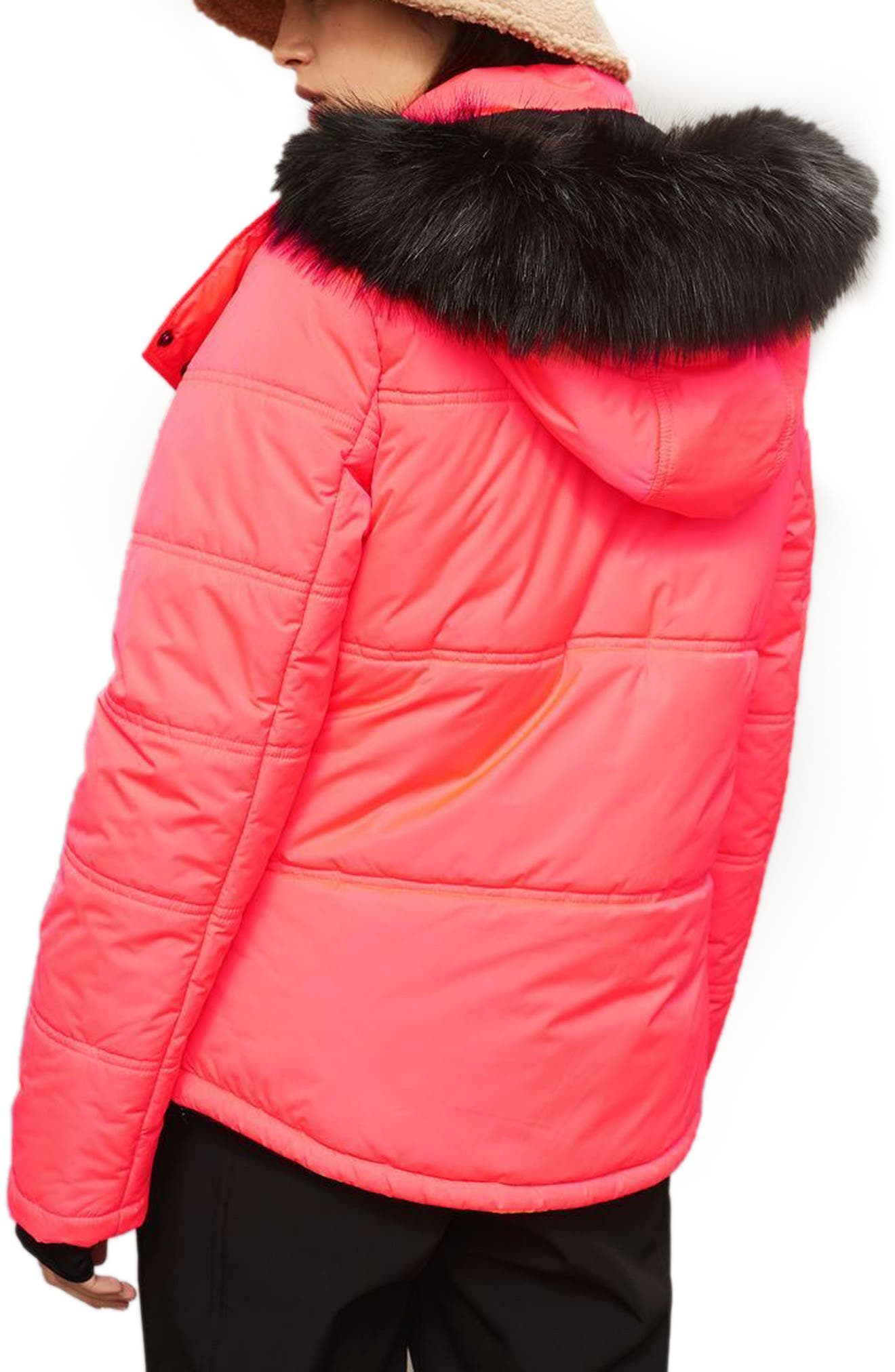 SNO Rio Faux Fur Hood Neon Puffer Jacket,                             Alternate thumbnail 3, color,                             Pink