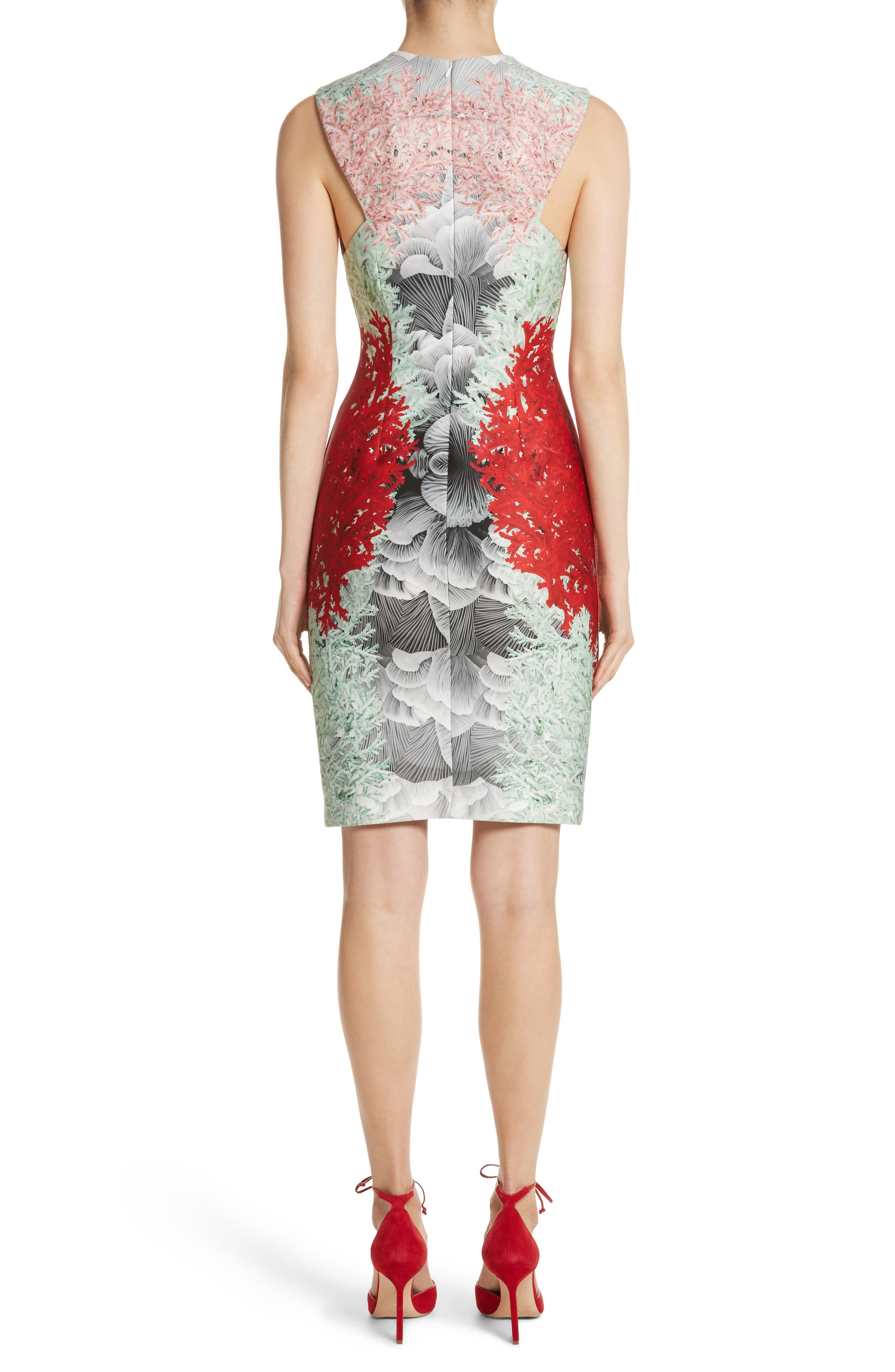 Coral Print Scuba Sheath Dress,                             Alternate thumbnail 2, color,                             Grey Multi