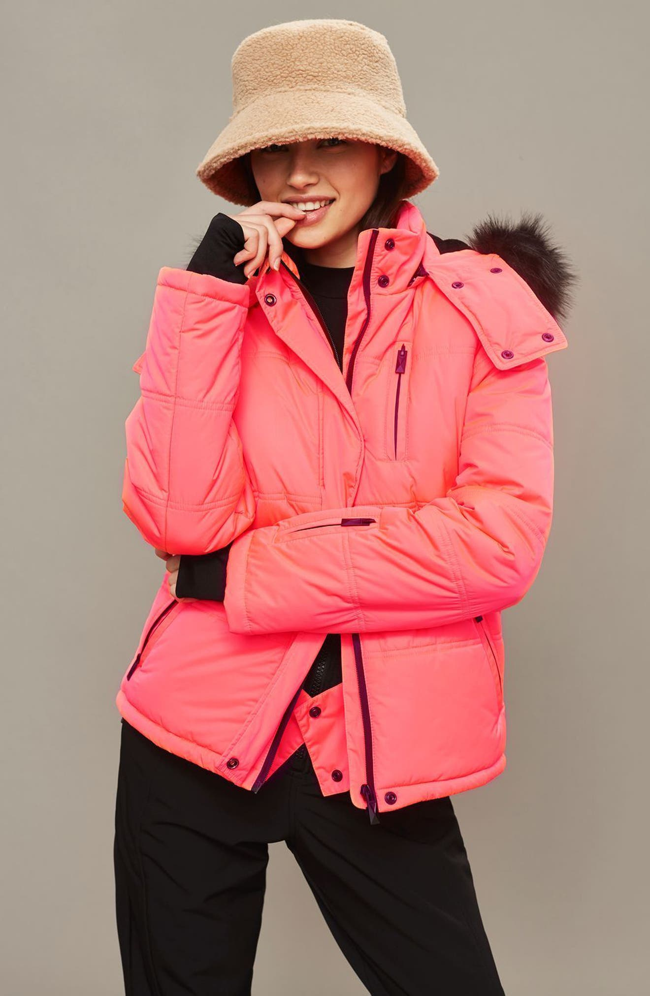 SNO Rio Faux Fur Hood Neon Puffer Jacket,                             Alternate thumbnail 2, color,                             Pink