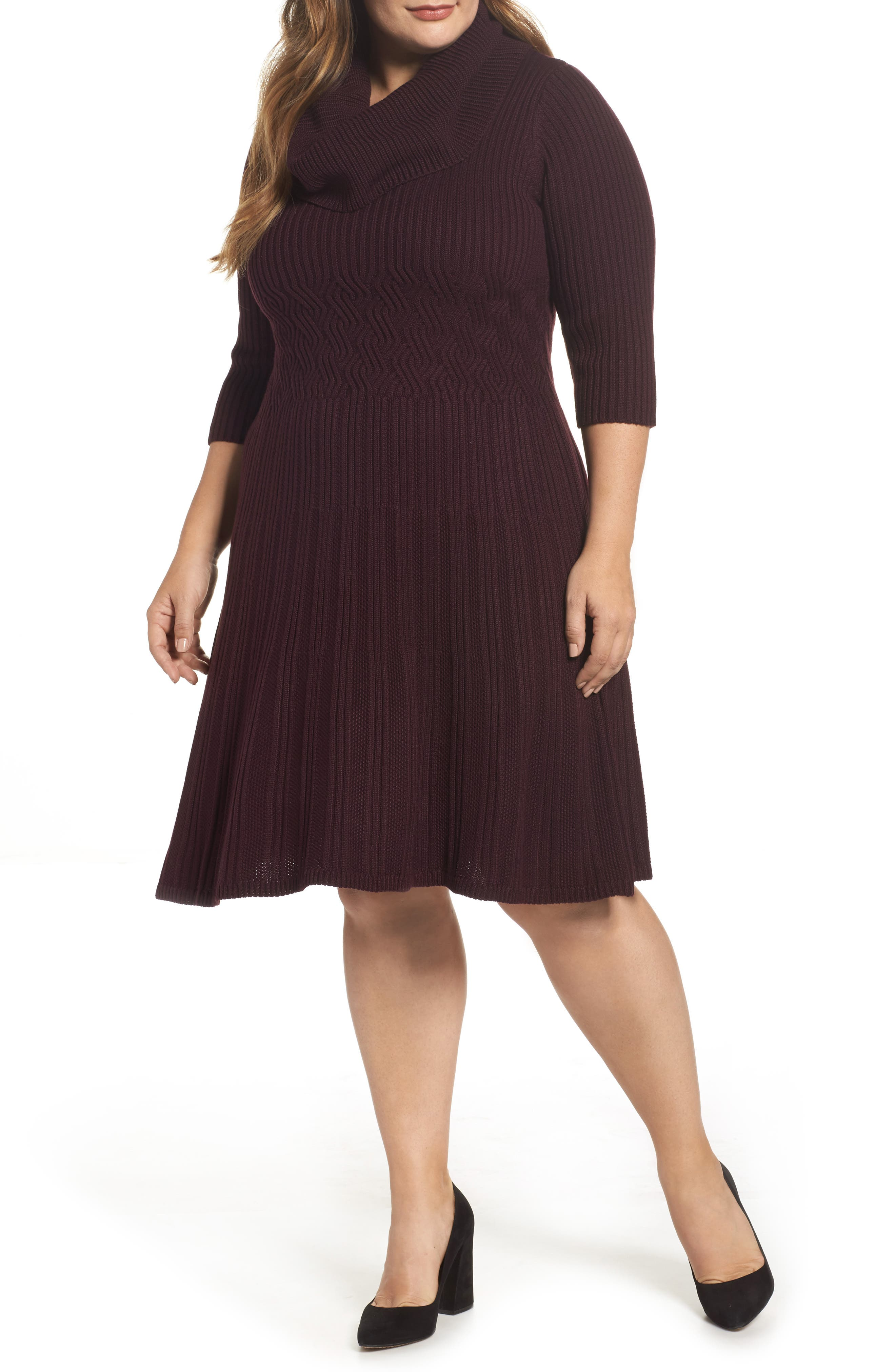 Ribbed Waist Fit & Flare Dress,                         Main,                         color, Wine