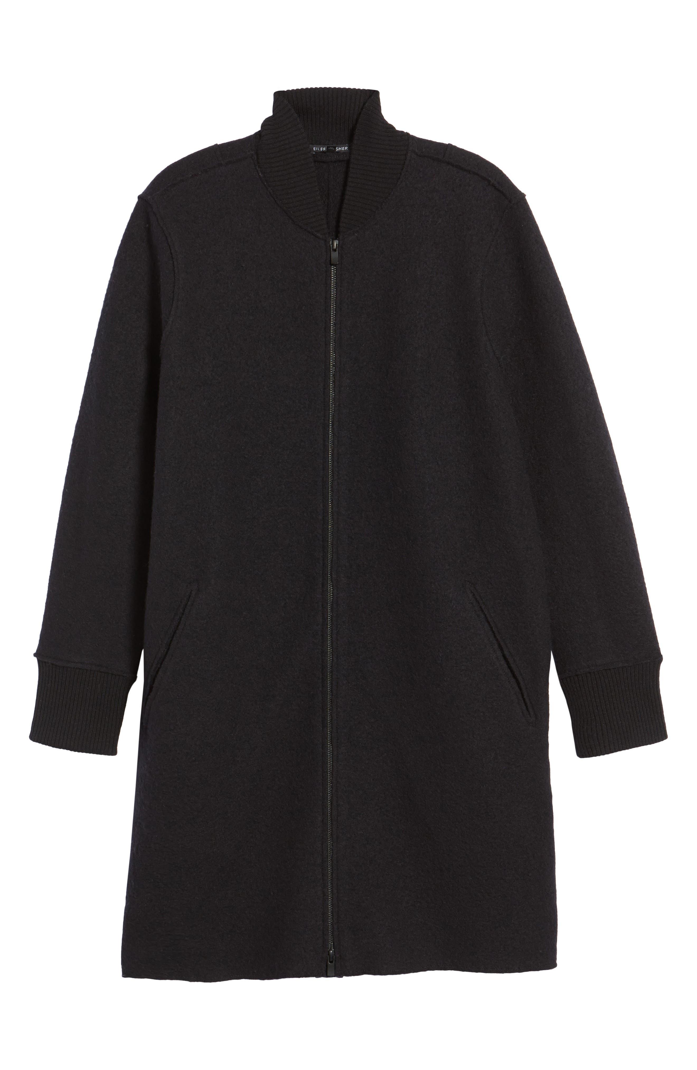 Boiled Wool Bomber Coat,                             Alternate thumbnail 6, color,                             Black