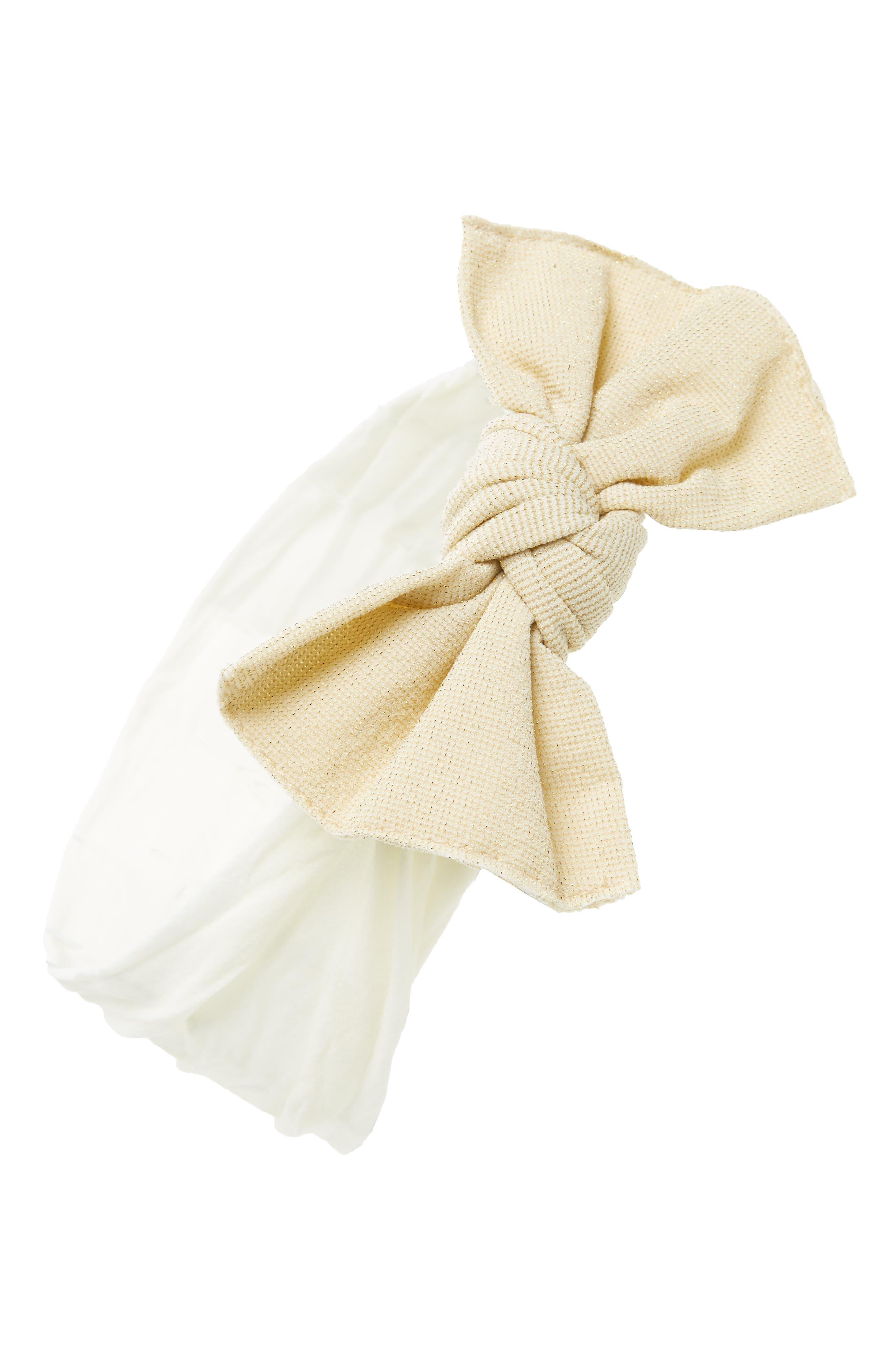Metallic Knot Bow Headband,                         Main,                         color, White/ Silver
