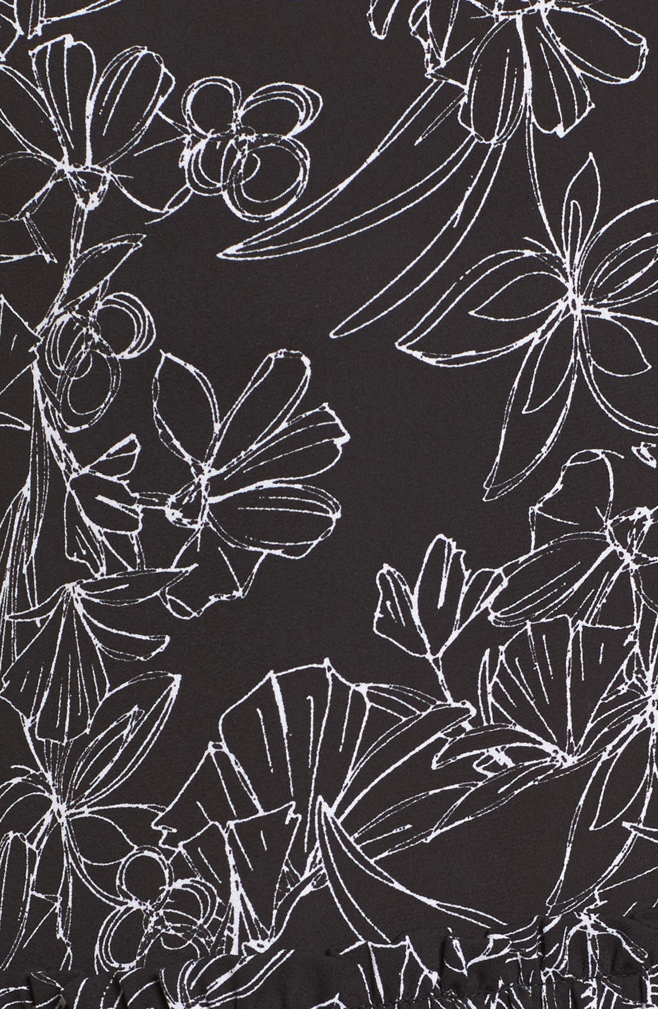 Drop Ruffle Tank Top,                             Alternate thumbnail 5, color,                             Black- White Floral