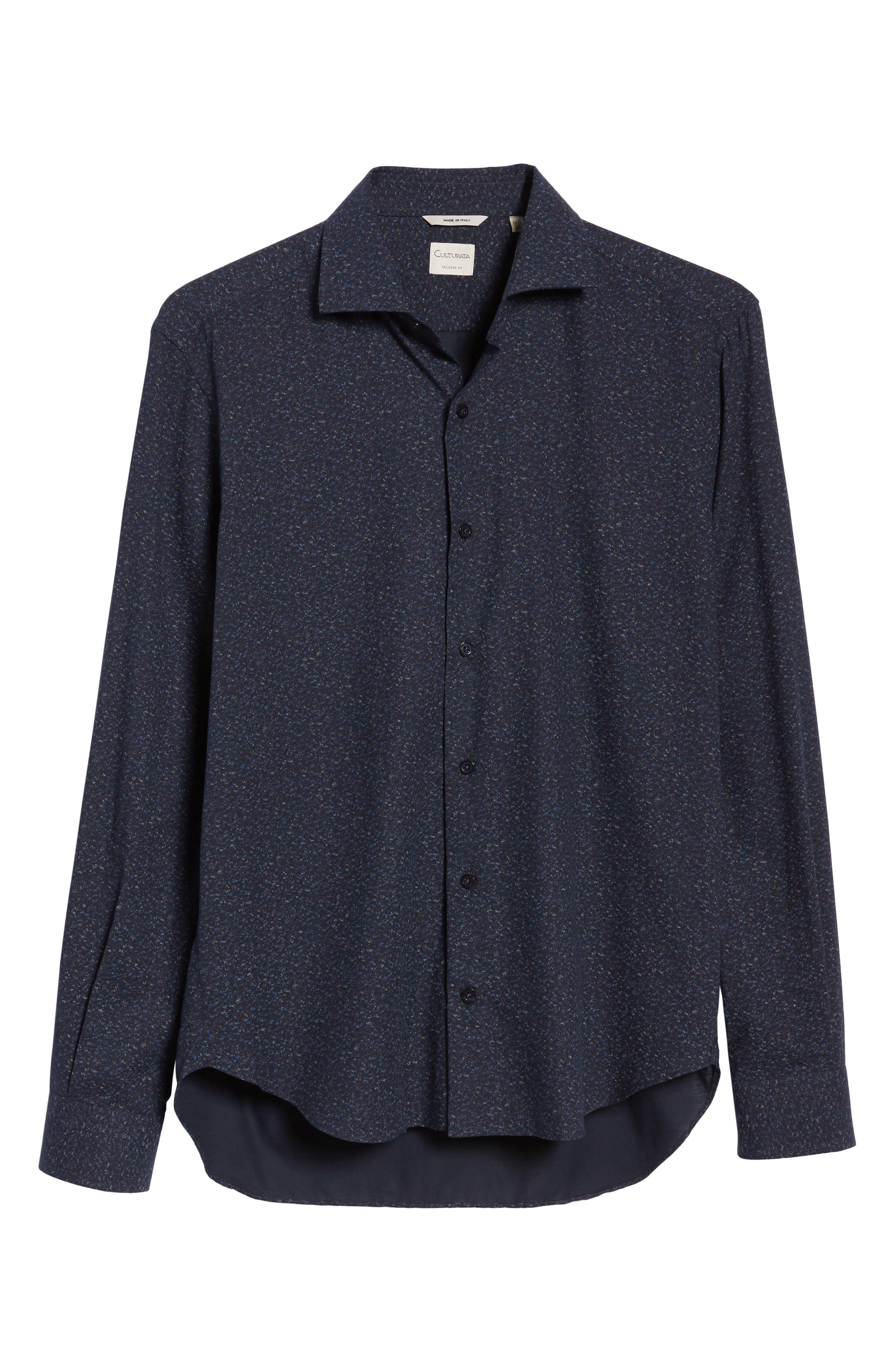 Speckled Sport Shirt,                             Alternate thumbnail 6, color,                             Navy
