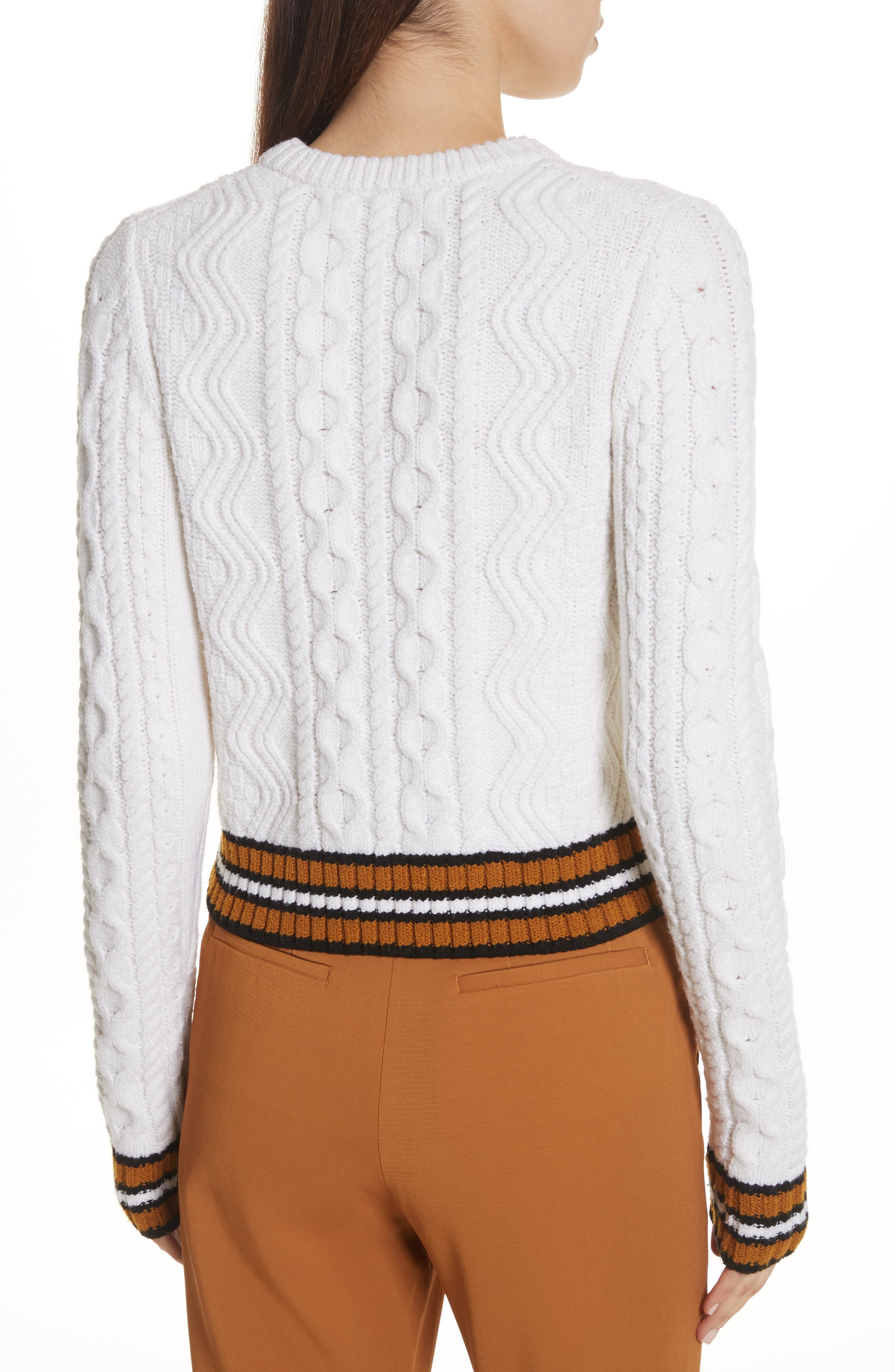 Alpha Cable Knit Sweater,                             Alternate thumbnail 3, color,                             White