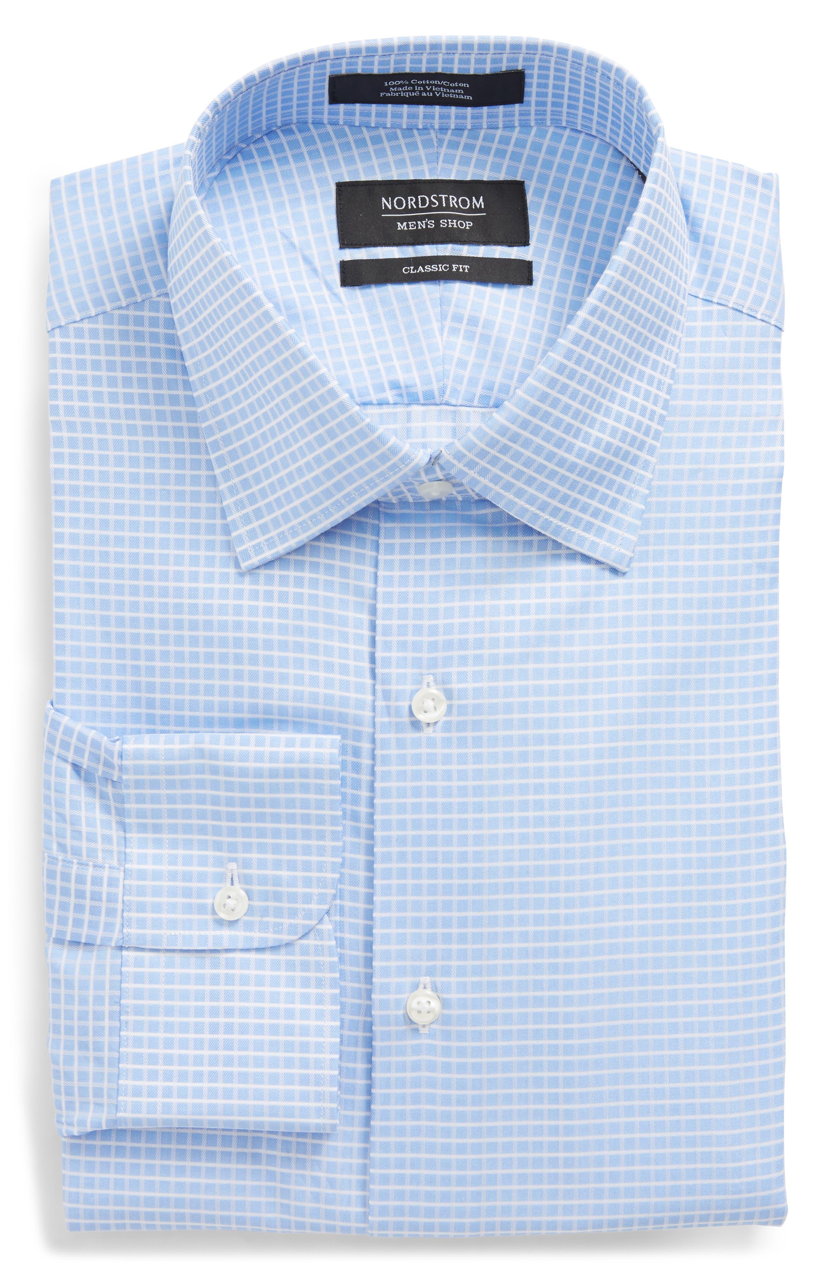 Trim Fit Check Dress Shirt,                         Main,                         color, Blue Hydrangea