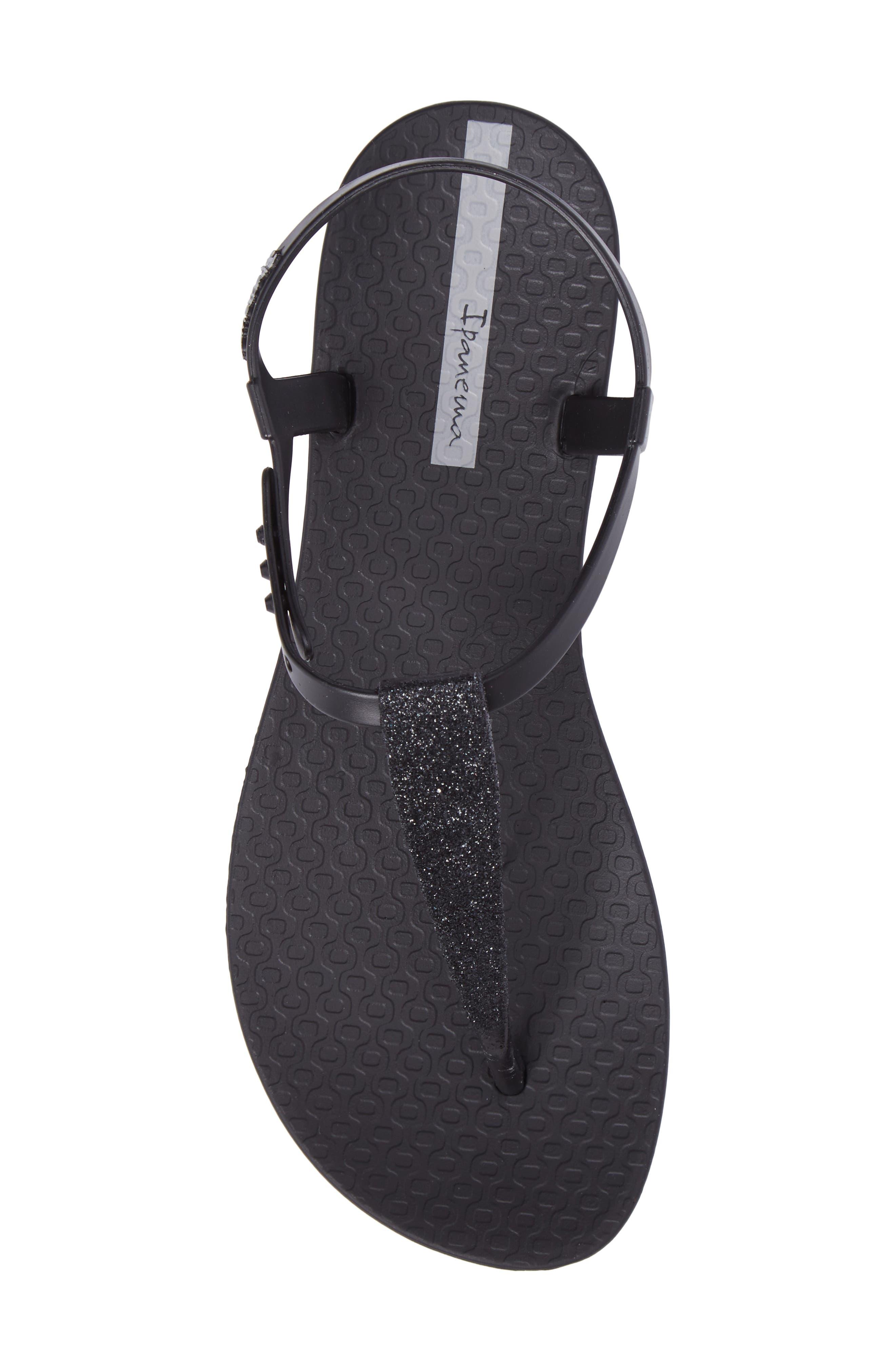 Shimmer Sandal,                             Alternate thumbnail 5, color,                             Black/ Black