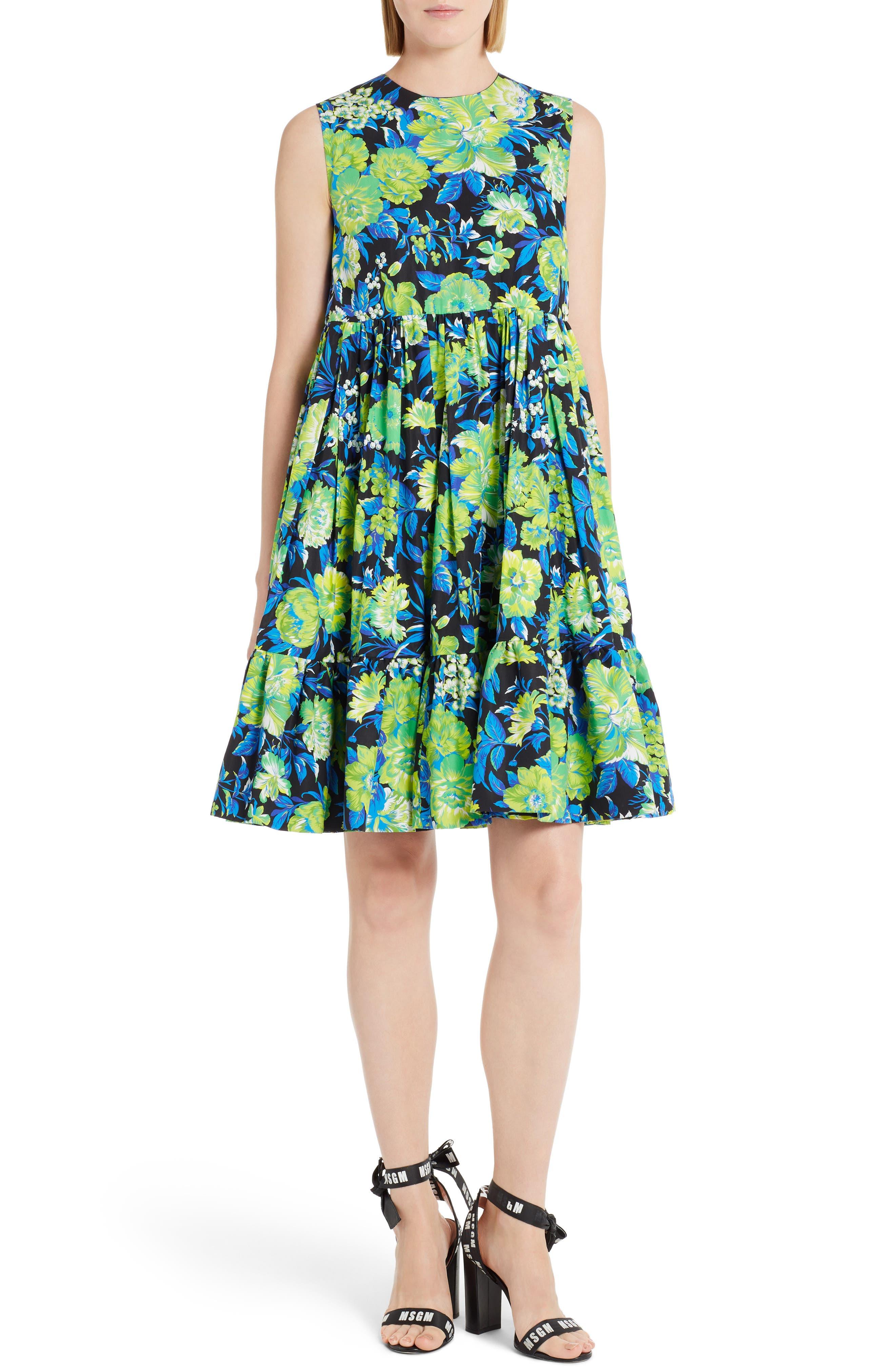 Floral Print A-Line Dress,                         Main,                         color, Black/ Green/ Blue 99