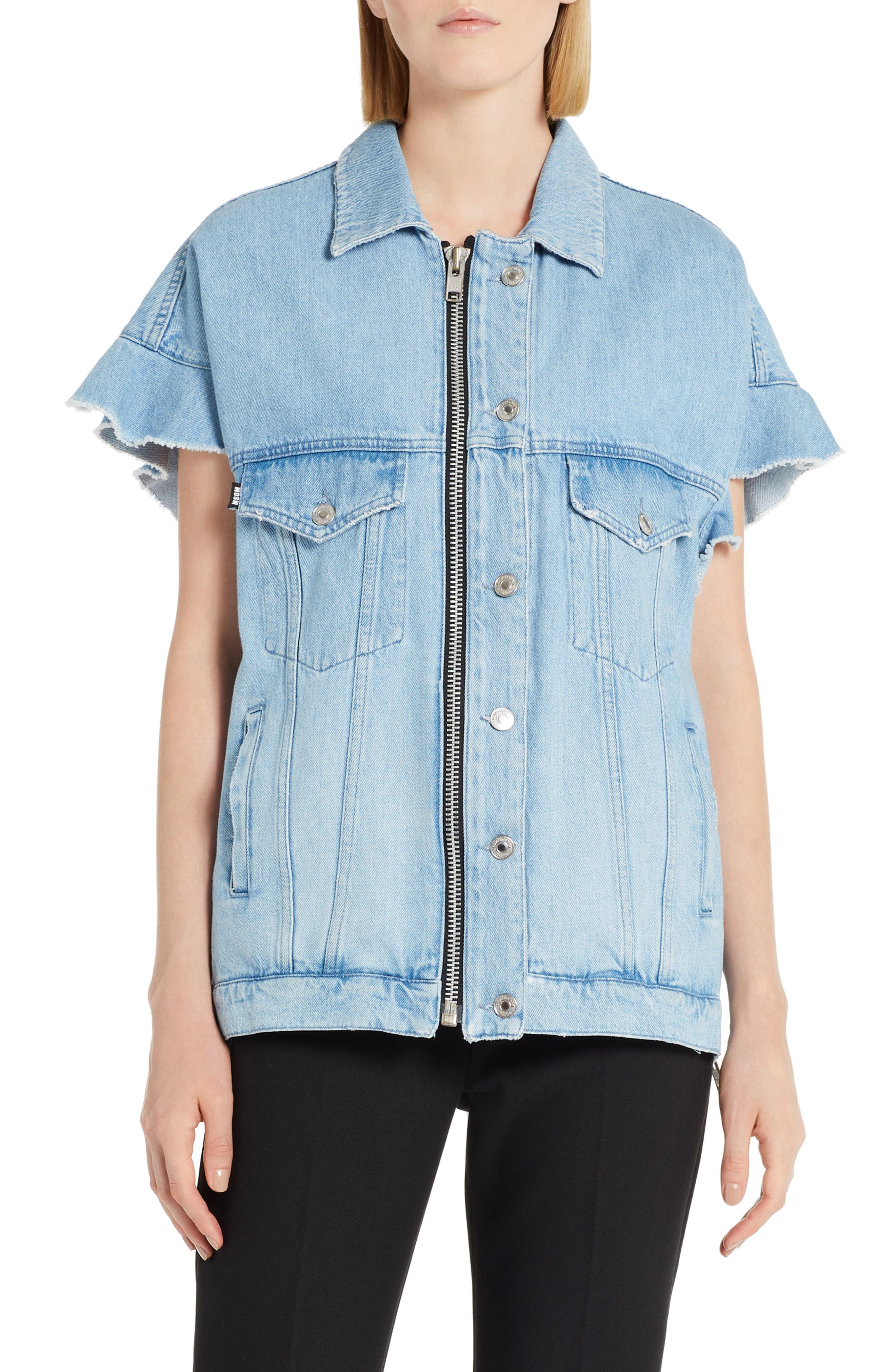 MSGM Zip Front Denim Jacket