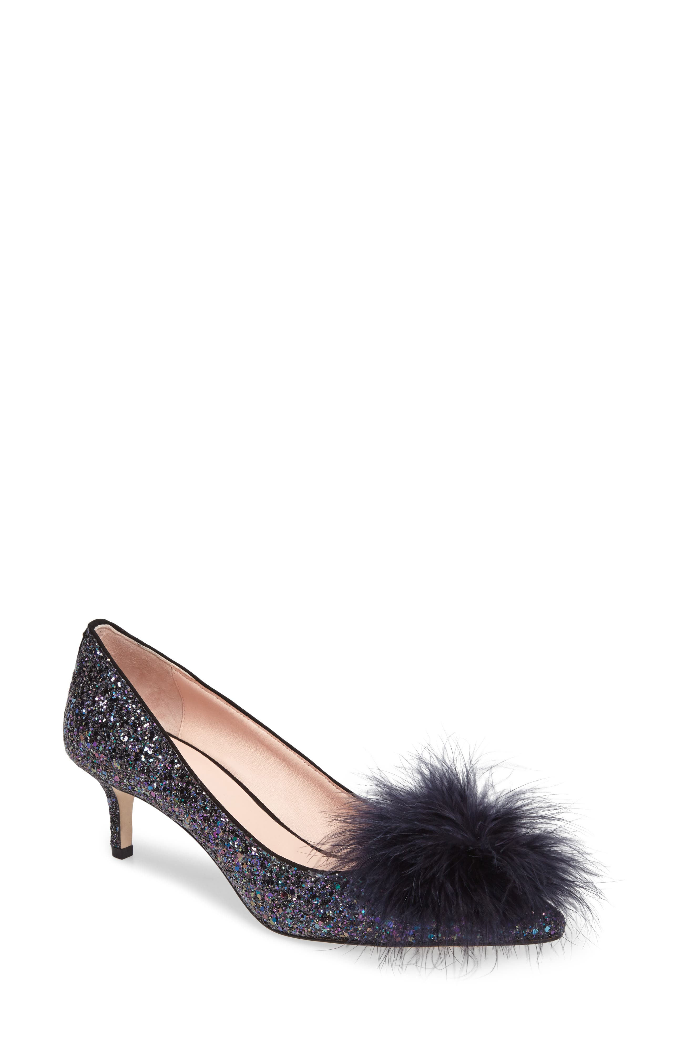 maribou pouf glitter pump,                         Main,                         color, Midnight