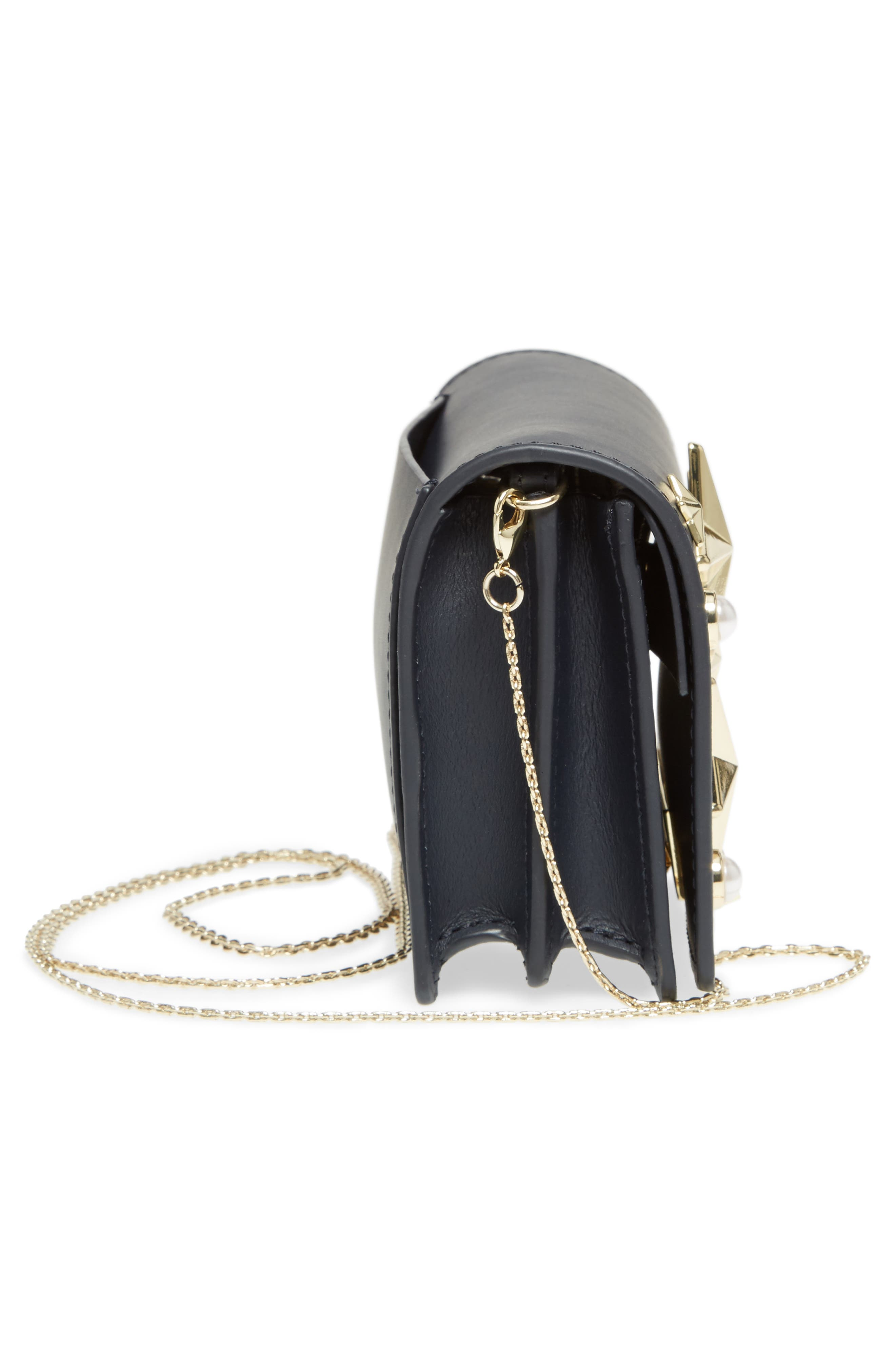 Earthette Leather Accordion Bag,                             Alternate thumbnail 5, color,                             Navy