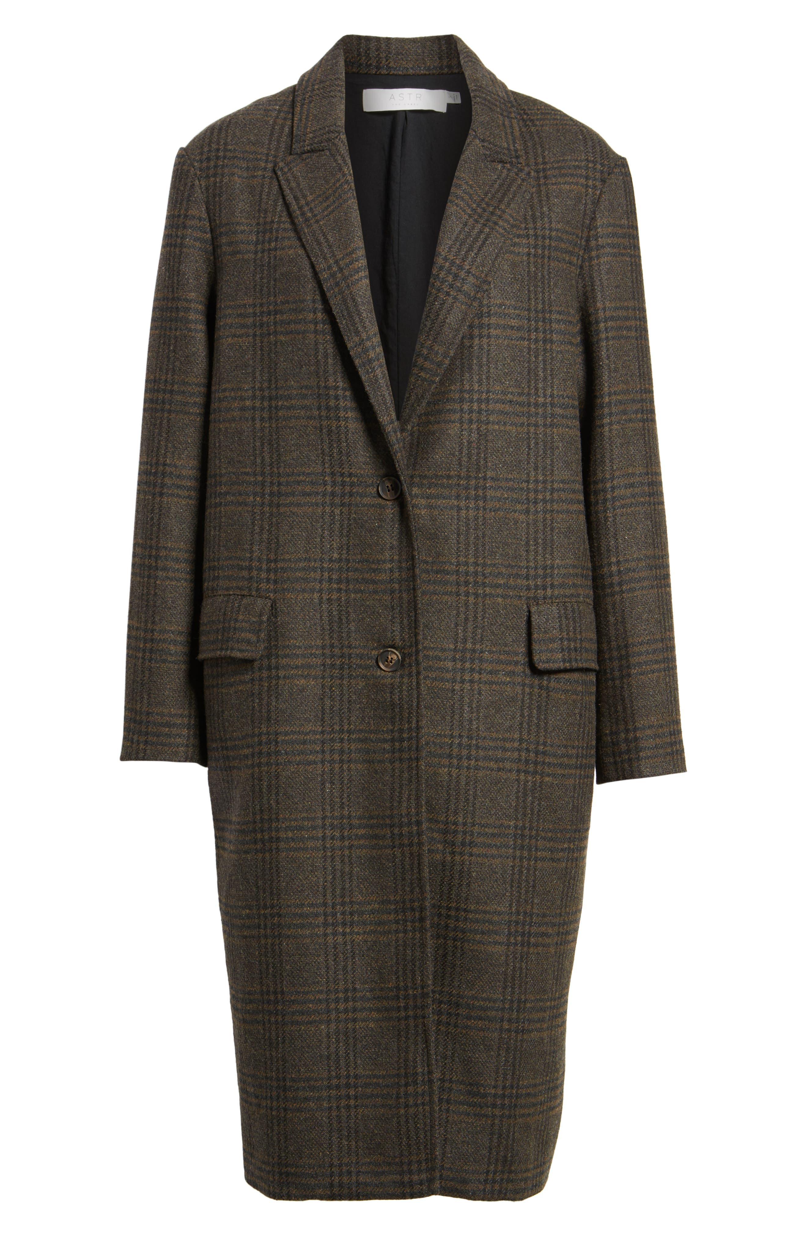 Menswear Coat,                             Alternate thumbnail 6, color,                             Brown Plaid