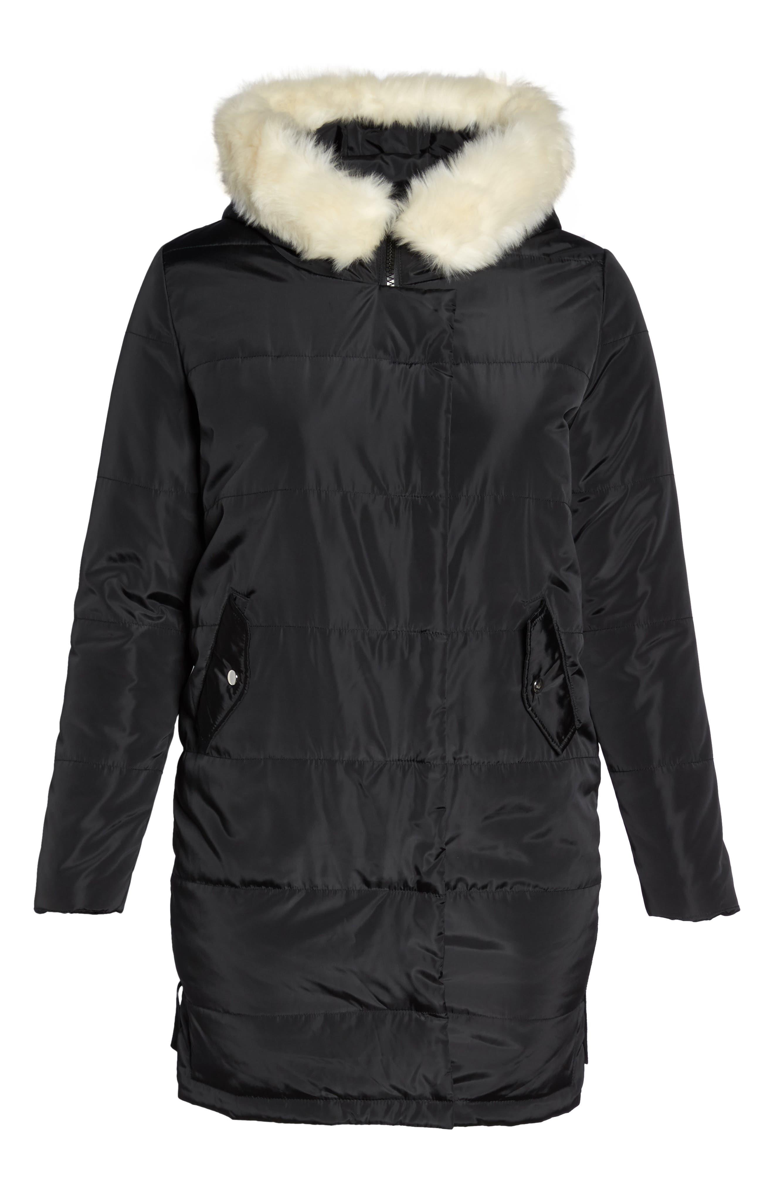 Puffer Coat with Faux Fur Trim,                             Alternate thumbnail 6, color,                             Black