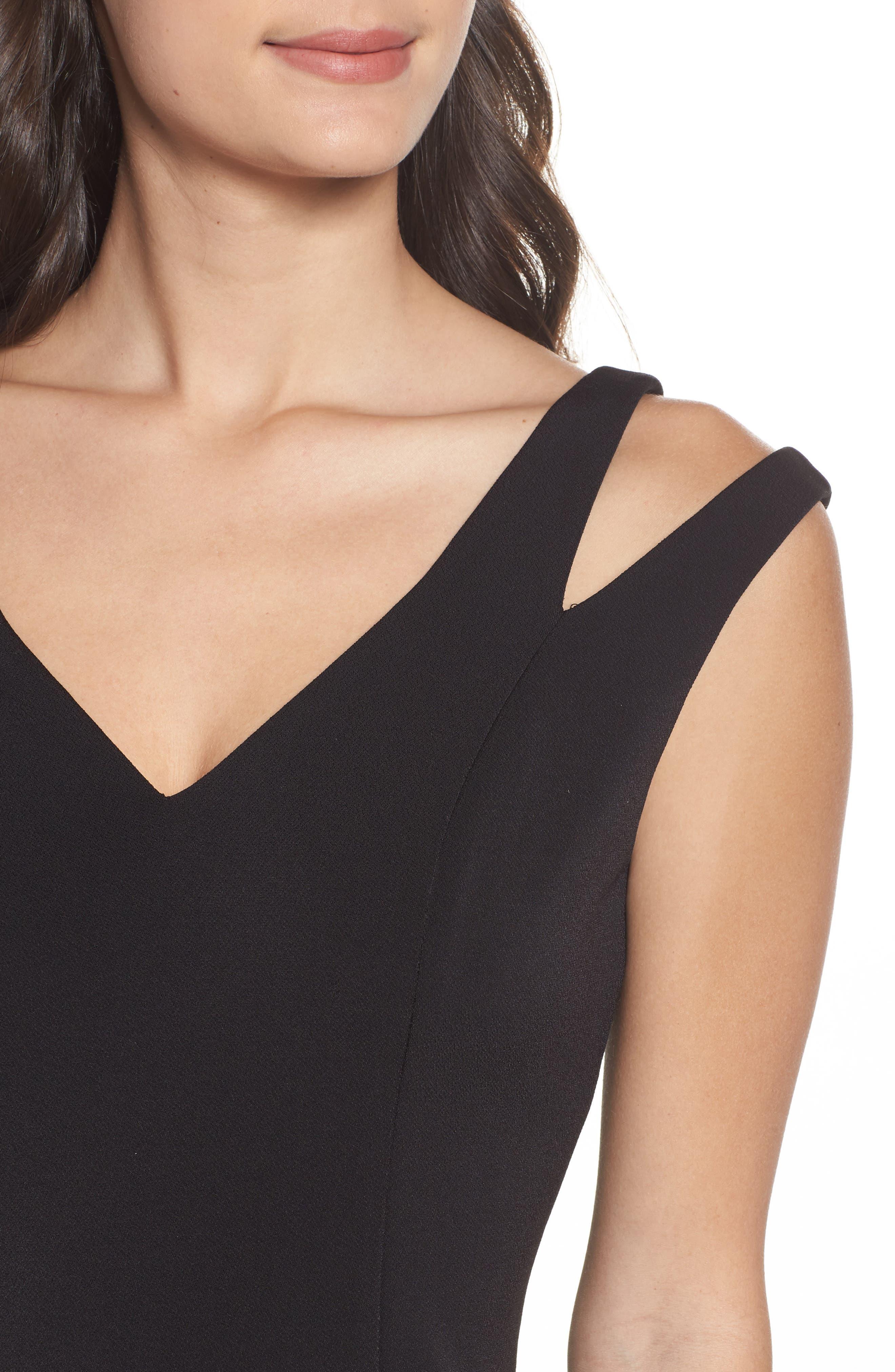 Cutout Shoulder Crepe Sheath Dress,                             Alternate thumbnail 4, color,                             Black