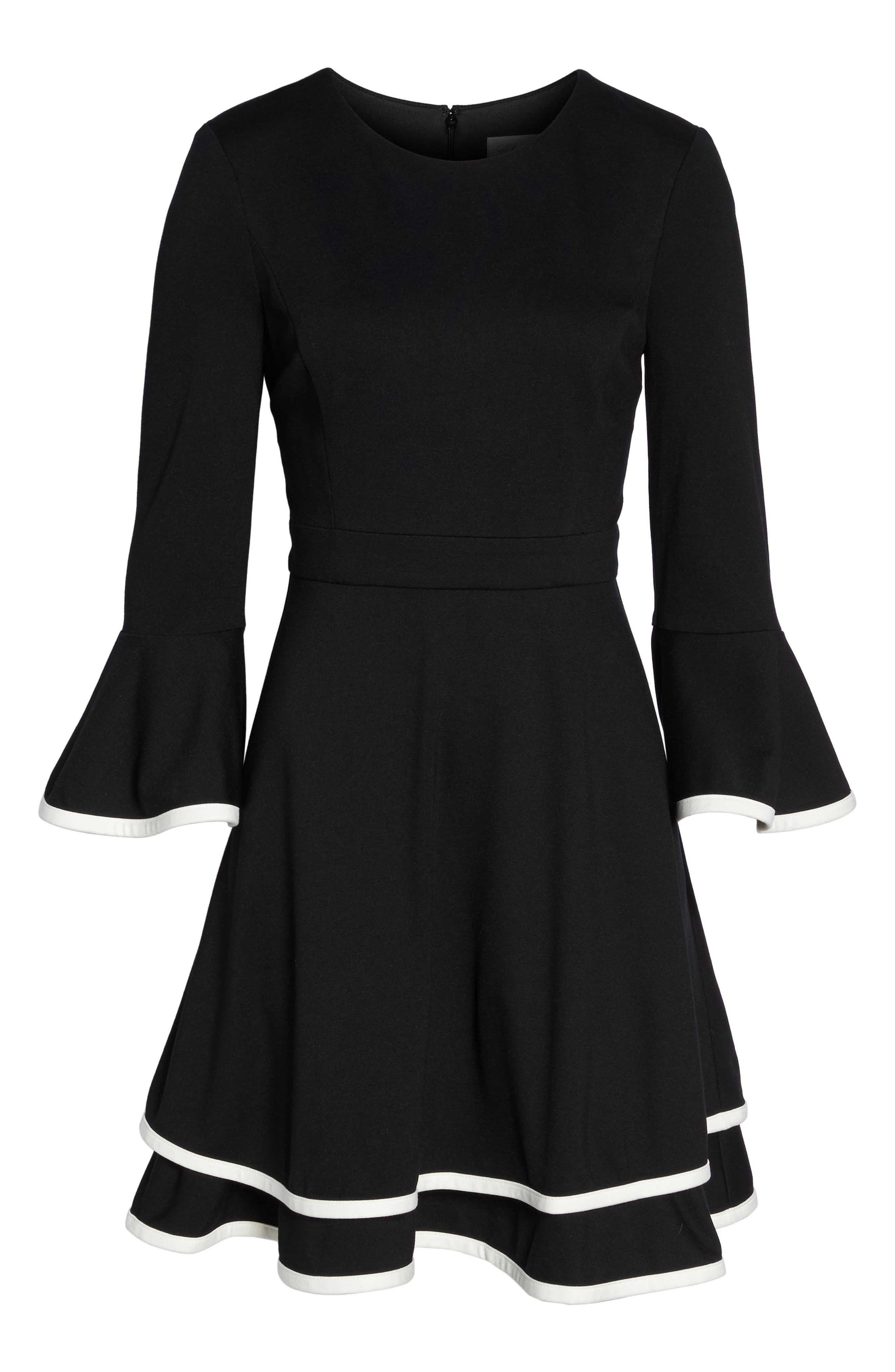 Bell Sleeve Fit & Flare Dress,                             Alternate thumbnail 6, color,                             Black/ Ivory