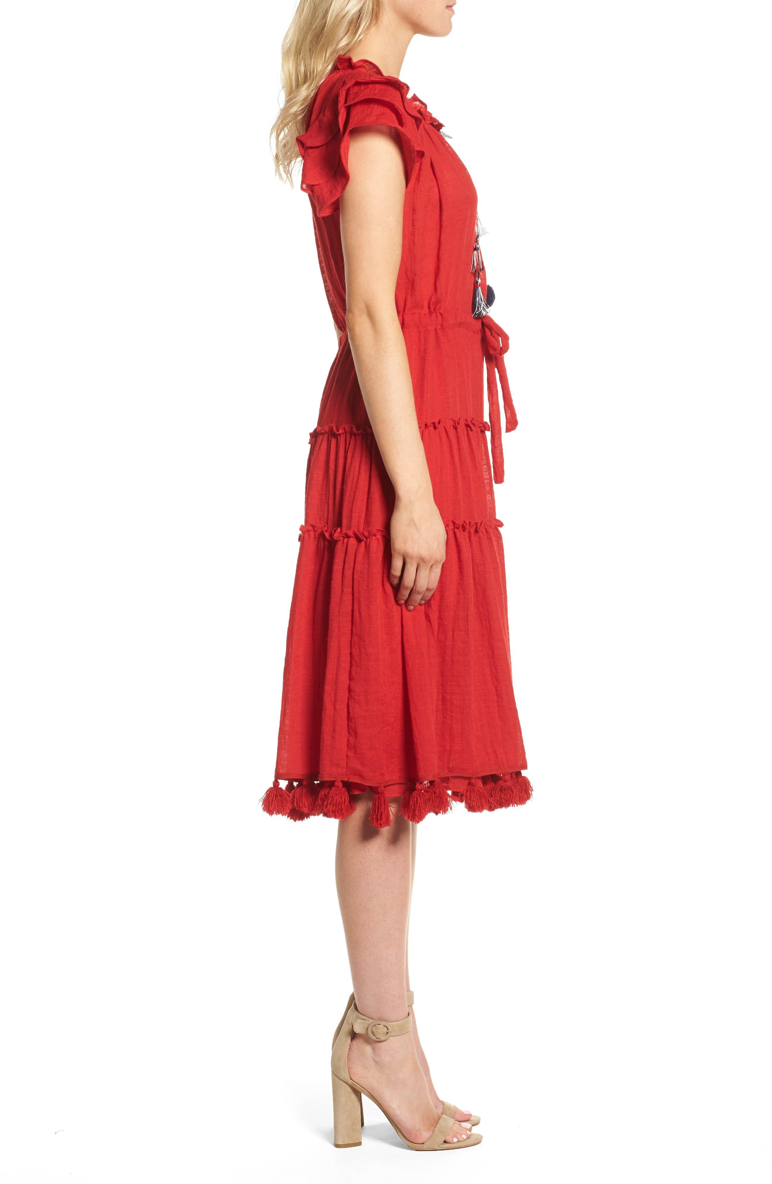 Roza Midi Dress,                             Alternate thumbnail 3, color,                             Scarlet