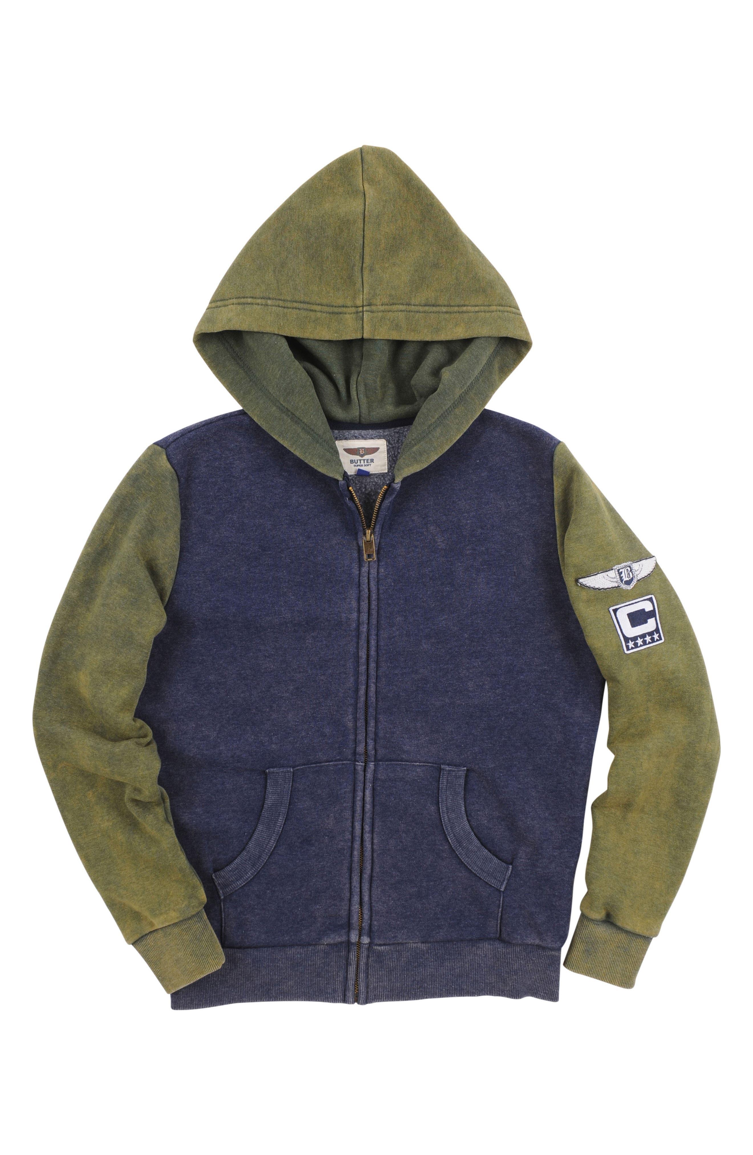 Colorblock Zip Hoodie,                         Main,                         color, Maritime Blue/ Duffel Bag
