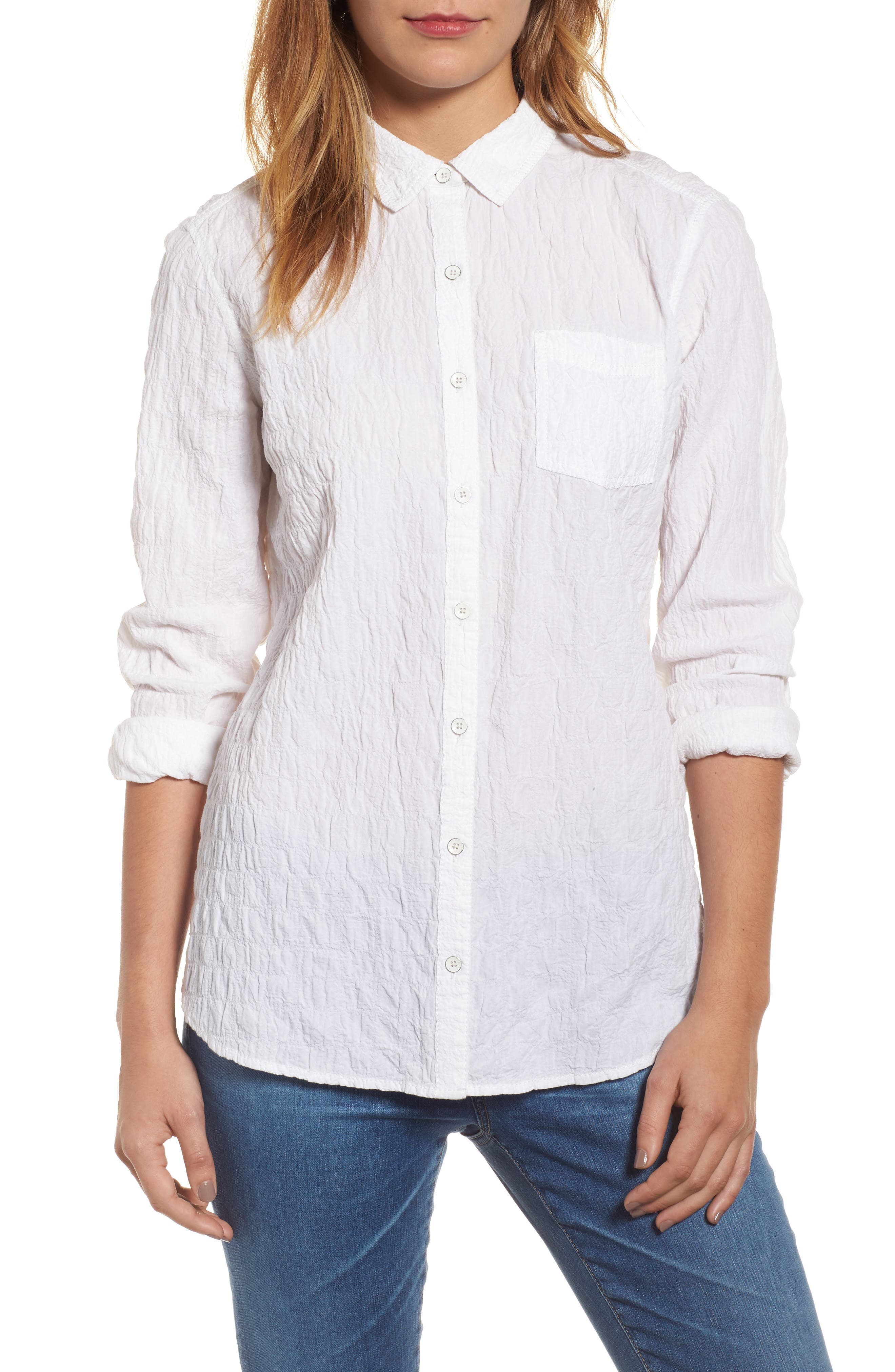 Button Up Shirt,                         Main,                         color, White