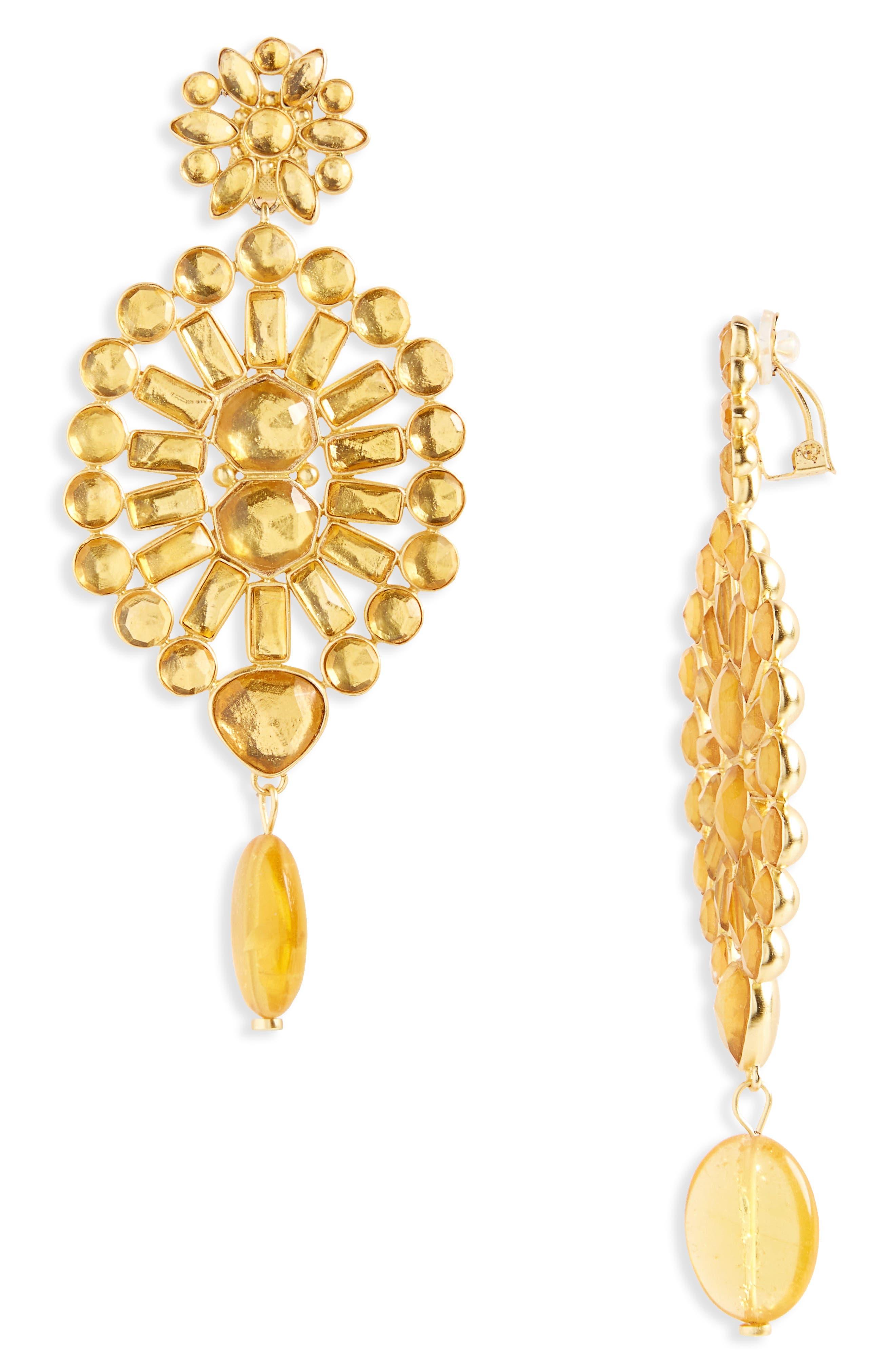Embellished Chandelier Clip Earrings,                         Main,                         color, Colorado Topaz/ Vintage Gold