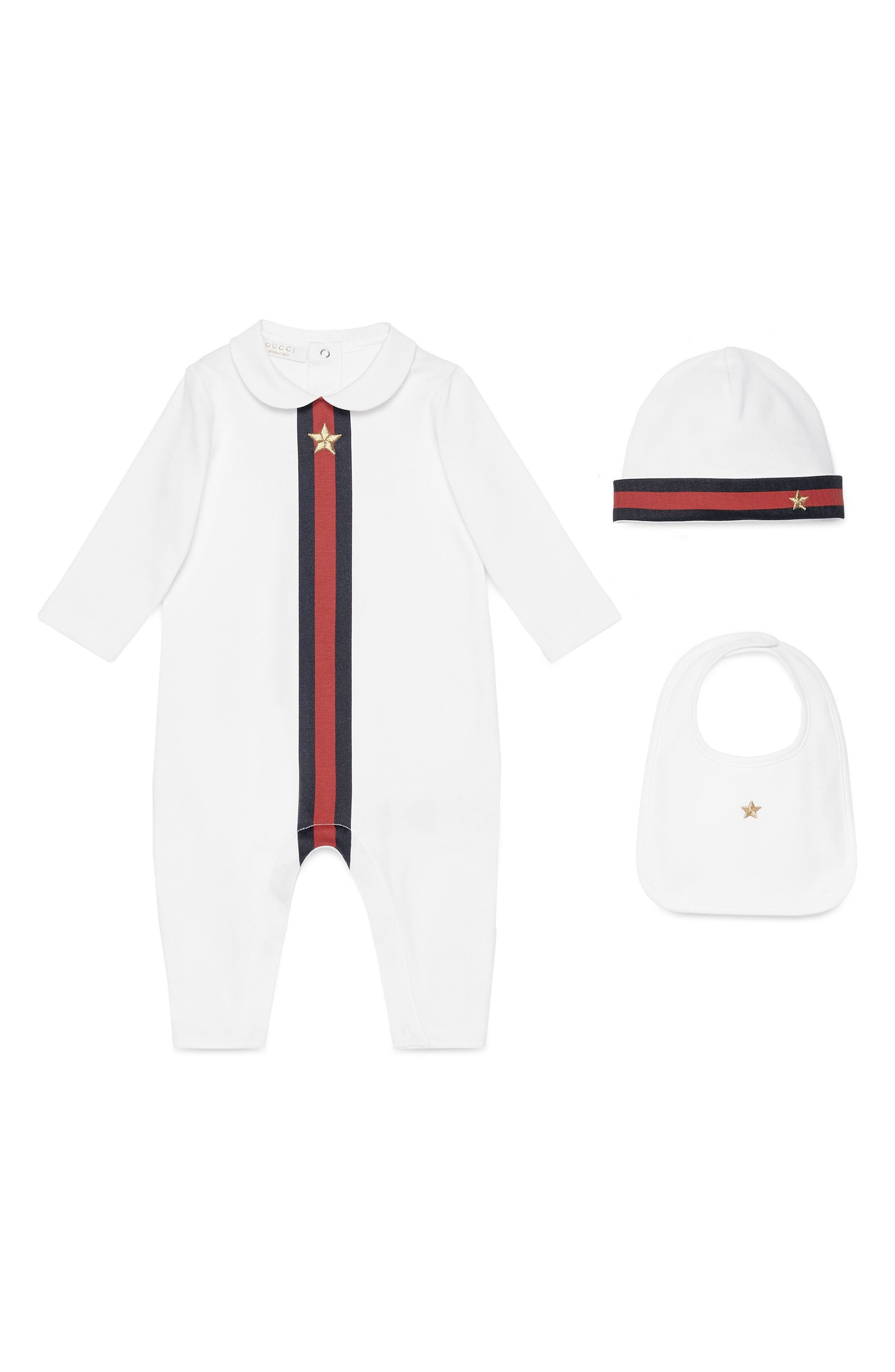 Gucci Cotton Romper, Hat & Bib Set (Baby)