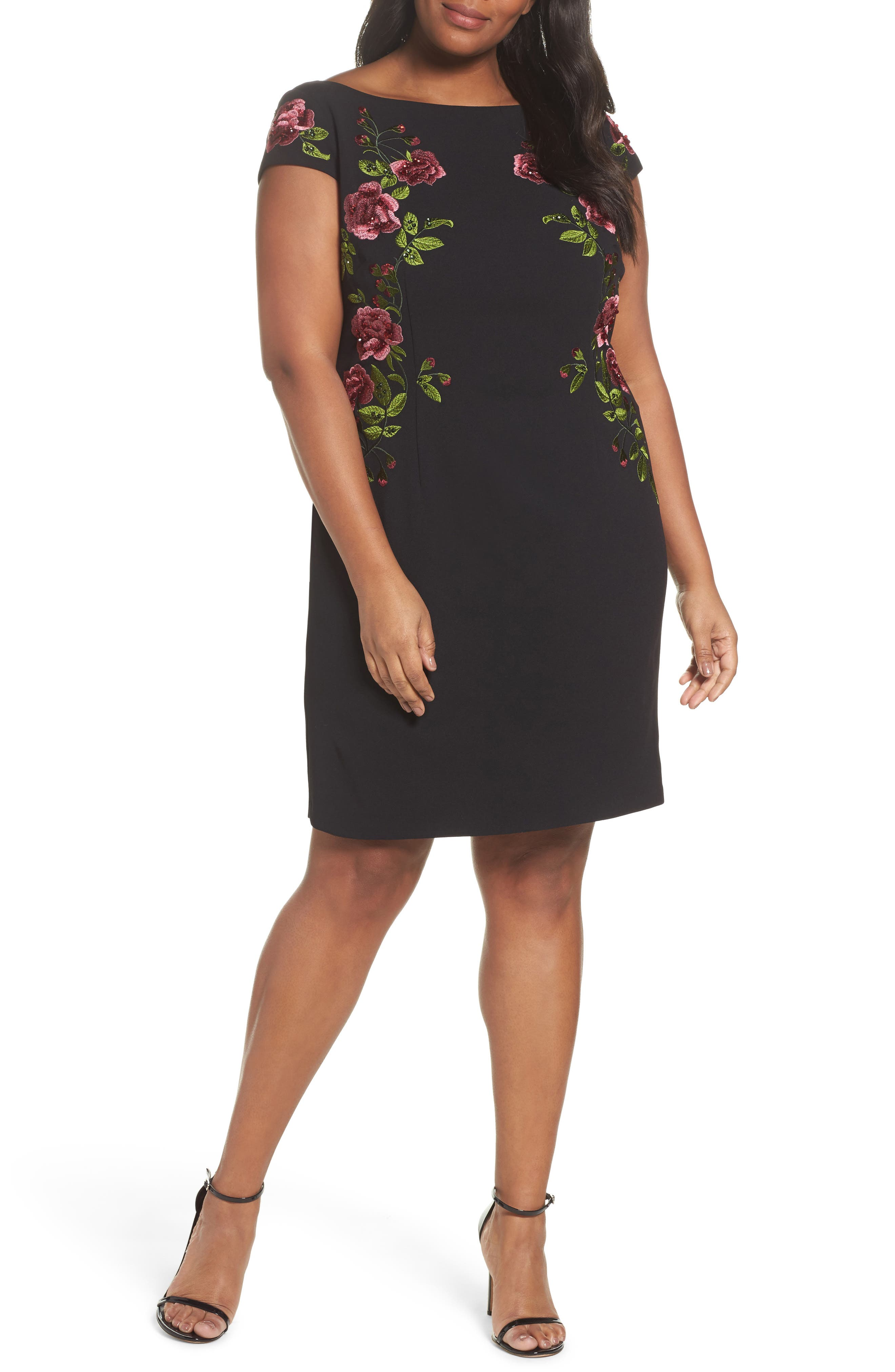 Flower Embroidered Crepe Sheath Dress,                             Main thumbnail 1, color,                             Black Multi