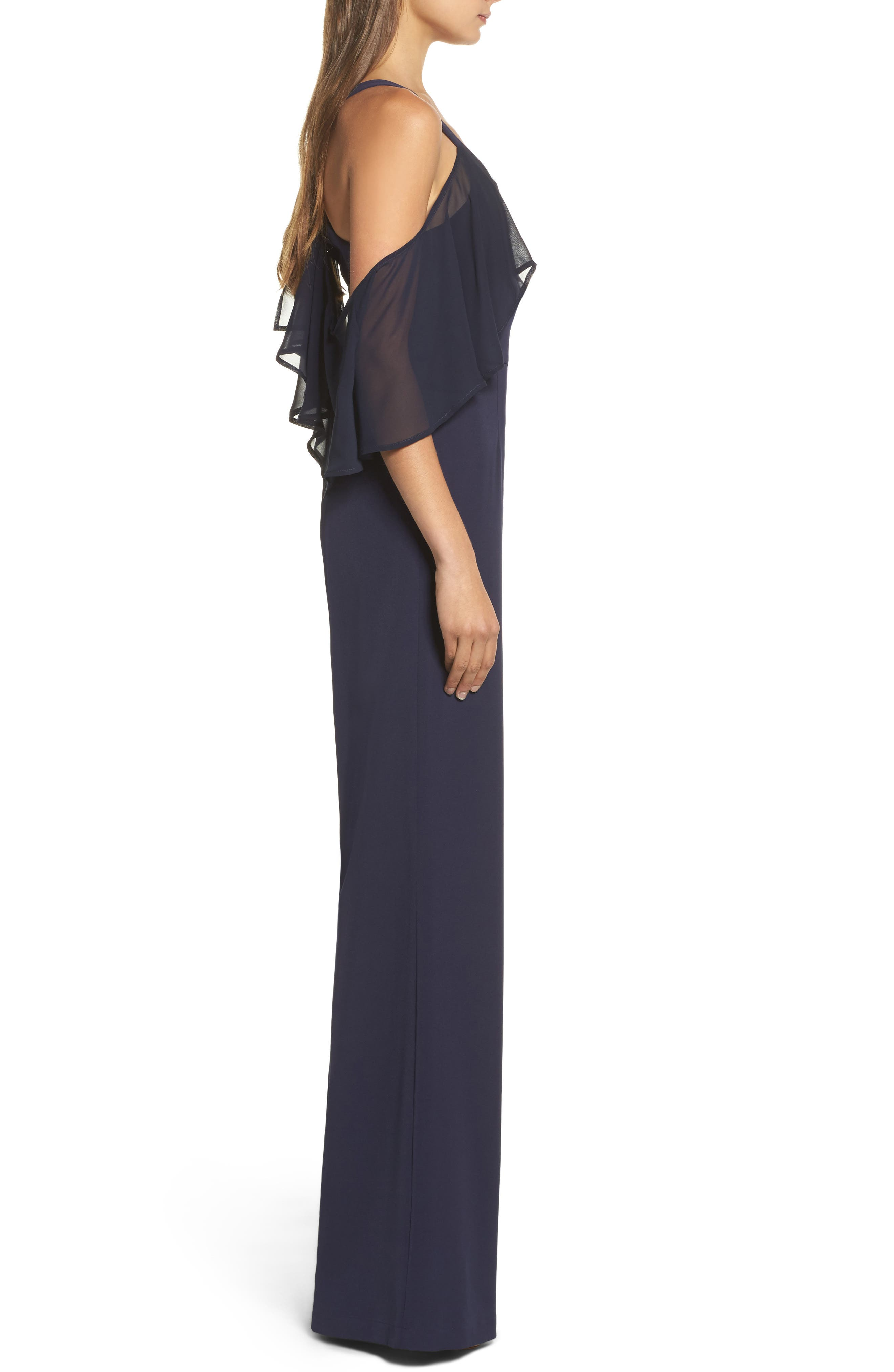 Alternate Image 3  - Jay by Jay Godfrey Oliver Cold Shoulder Ruffle Jumpsuit
